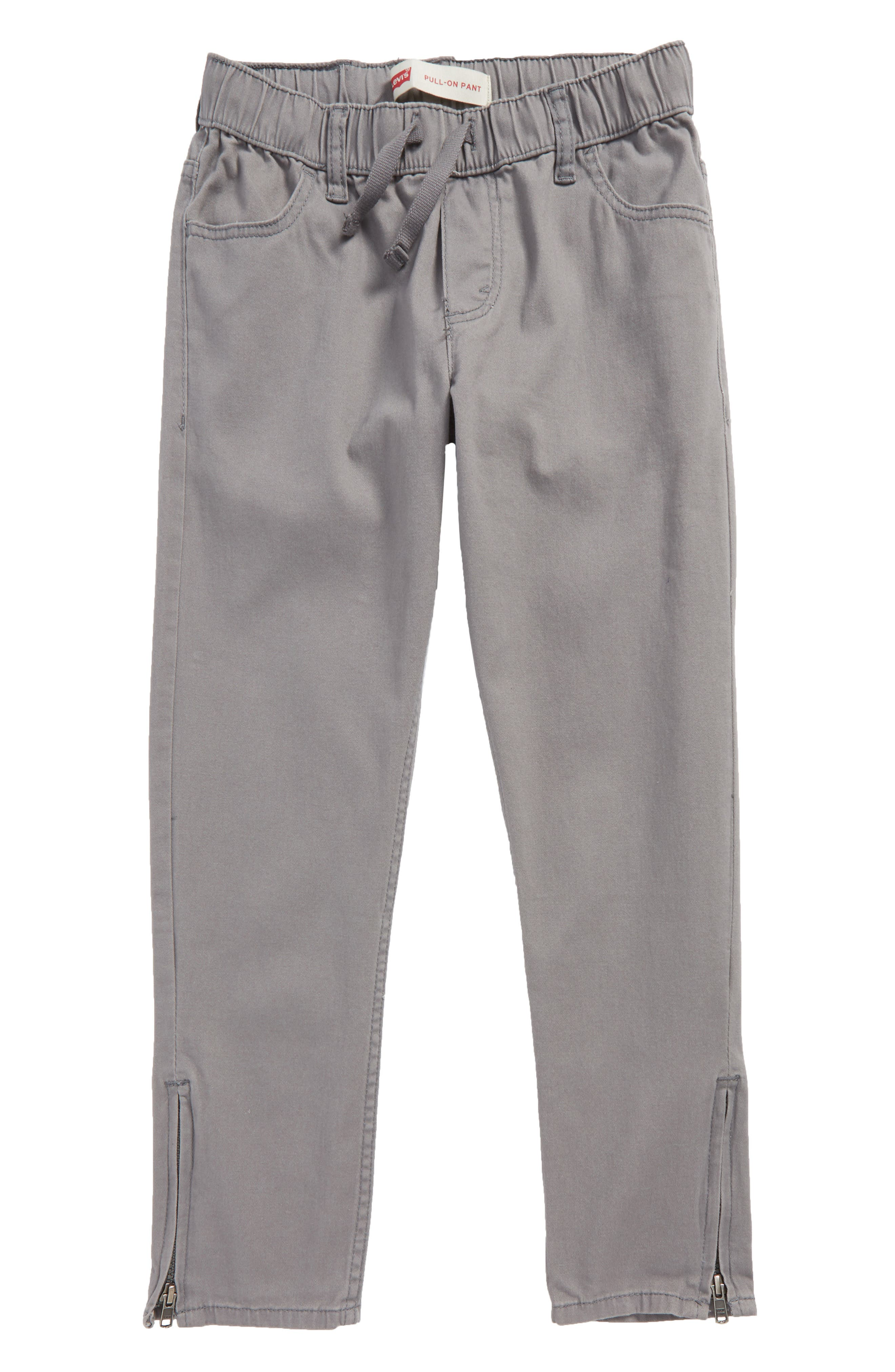 Zip Cuff Pull-On Pants,                         Main,                         color, Smoked Pearl
