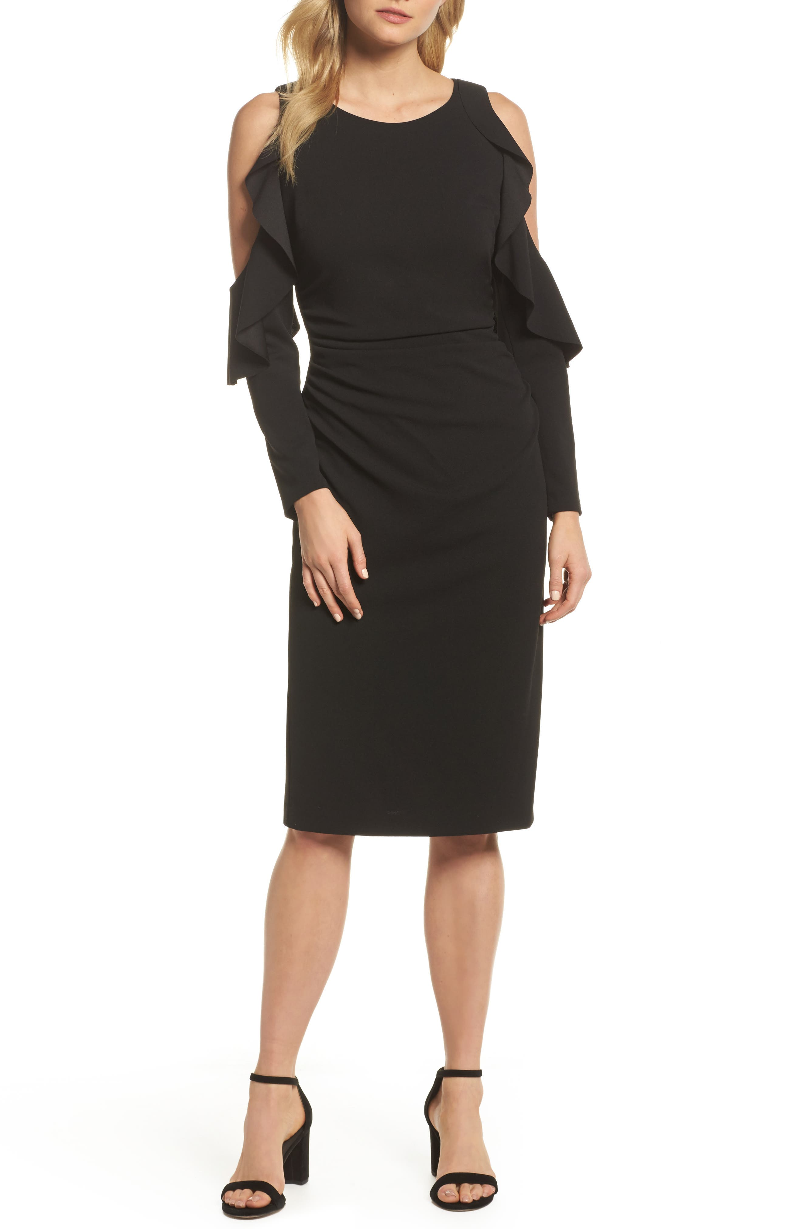Cold Shoulder Midi Dress,                             Main thumbnail 1, color,                             Black