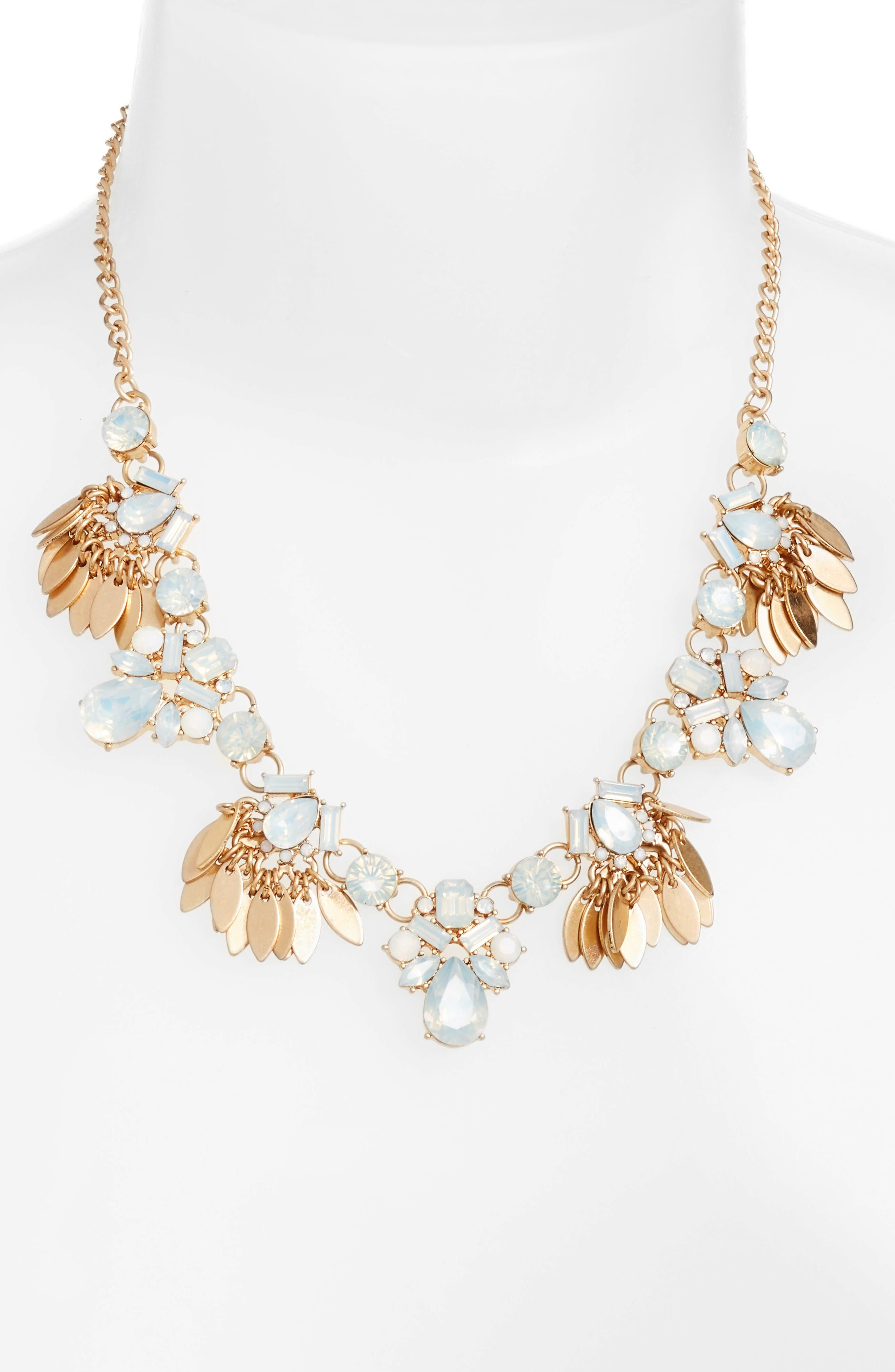 Jewel & Petal Statement Necklace,                         Main,                         color, White Opal- Gold