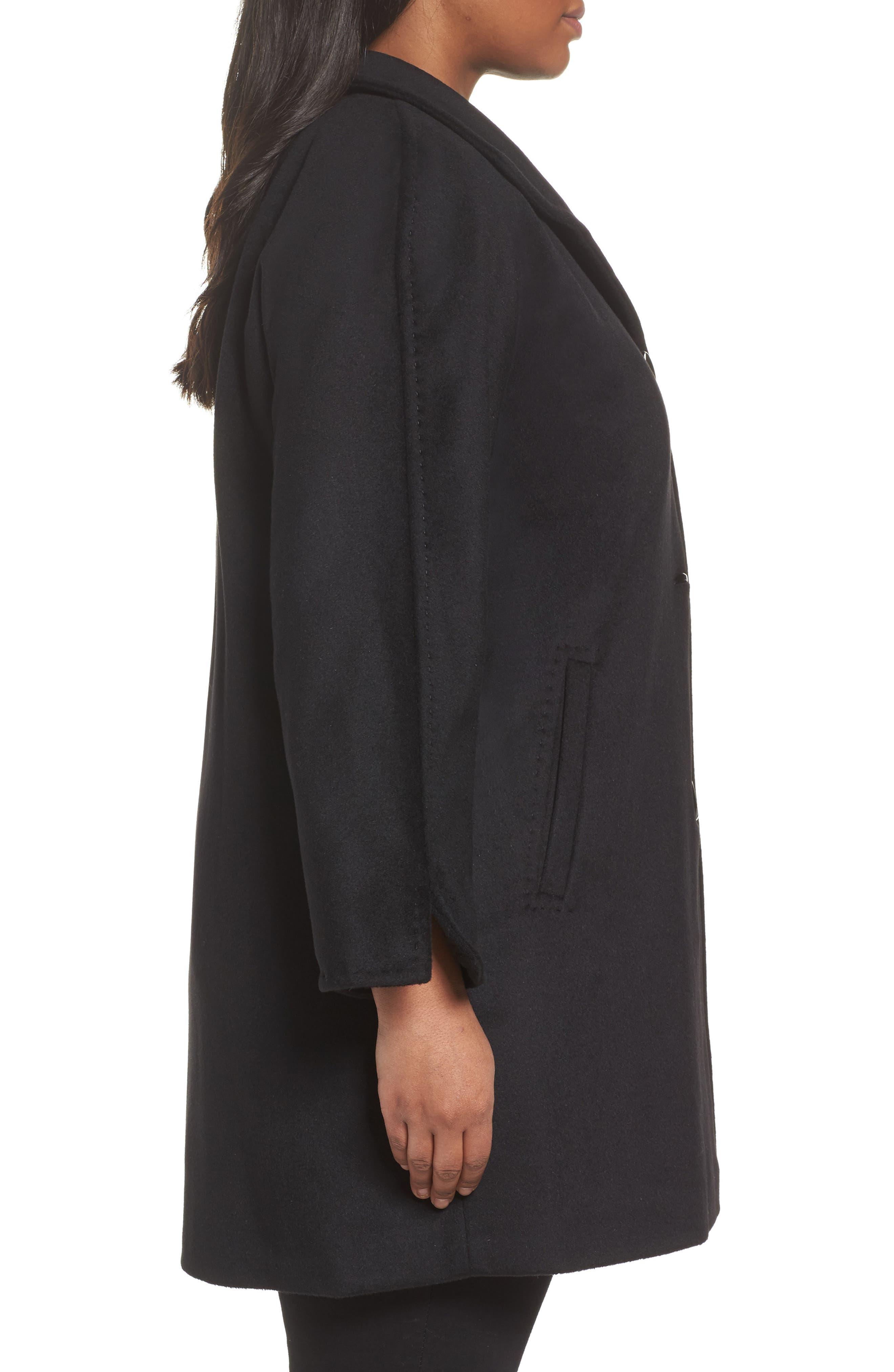 Kimono Wool Blend Coat,                             Alternate thumbnail 3, color,                             Black