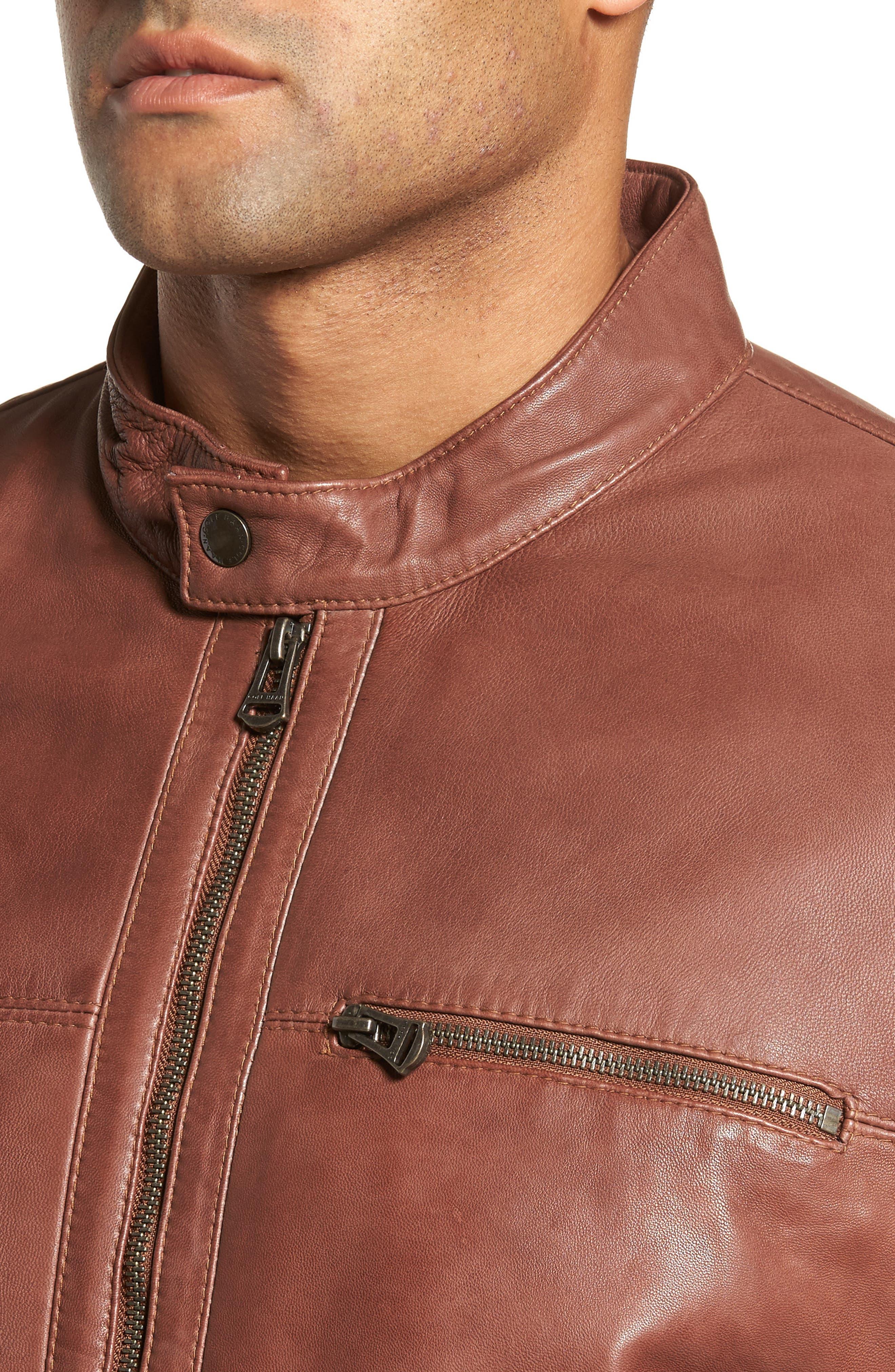 Washed Lamb Leather Moto Jacket,                             Alternate thumbnail 4, color,                             British Tan
