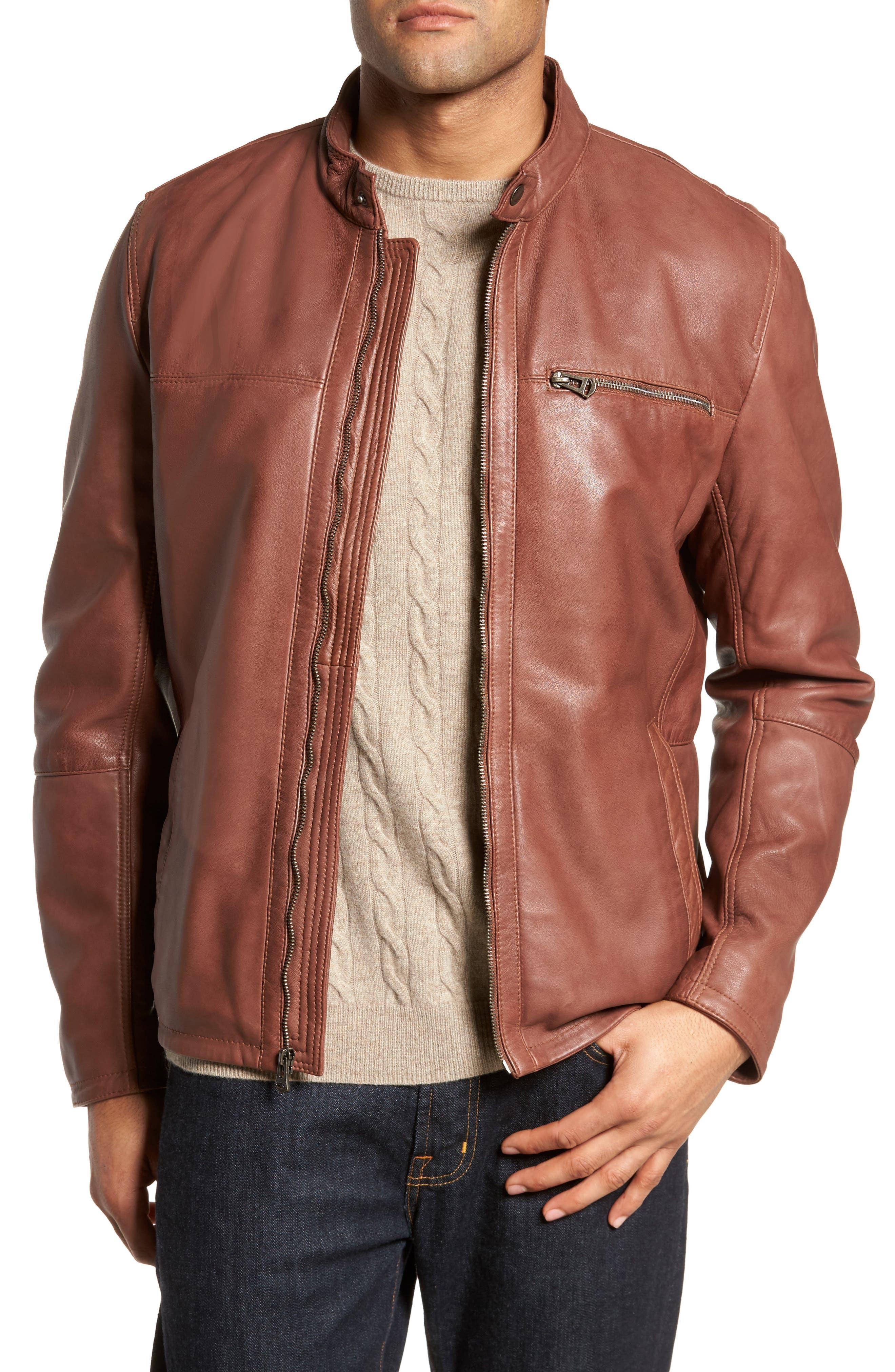 Washed Lamb Leather Moto Jacket,                             Main thumbnail 1, color,                             British Tan