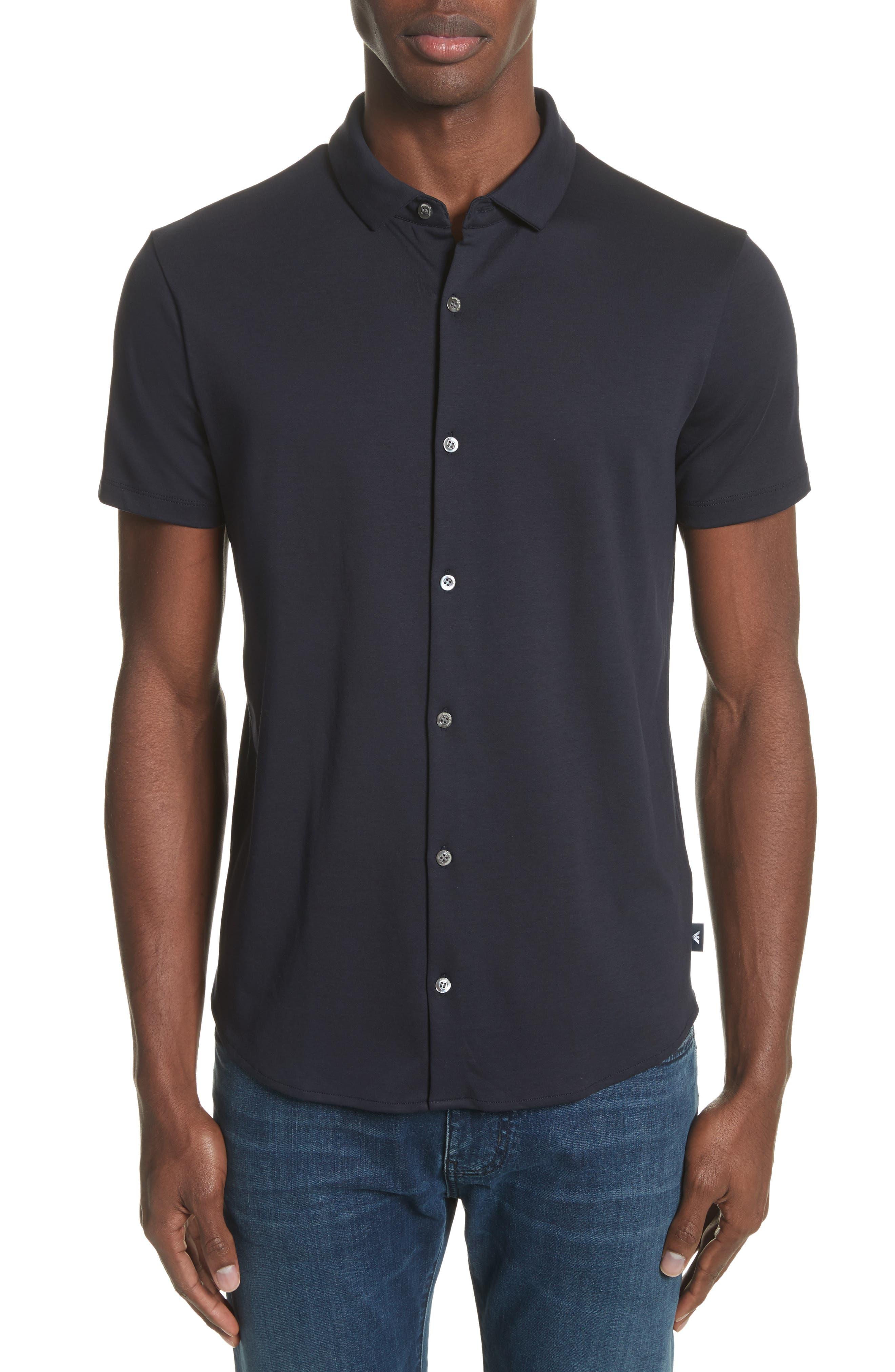 Slim Fit Cotton Knit Sport Shirt,                         Main,                         color, Blue Navy