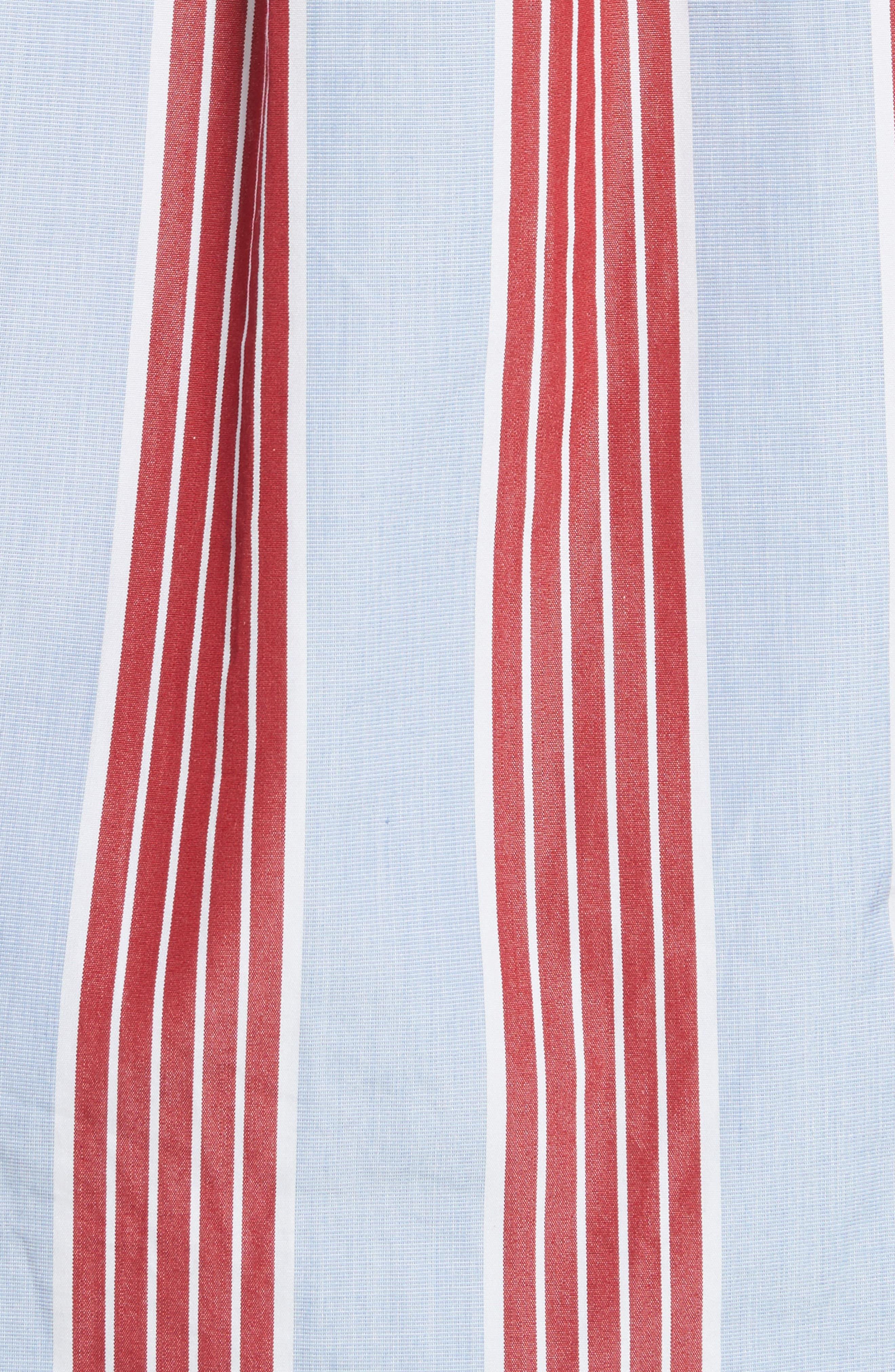 Chemise Manches Longues Stripe Shirt,                             Alternate thumbnail 5, color,                             Bleu Acier/ Rouge Fonce