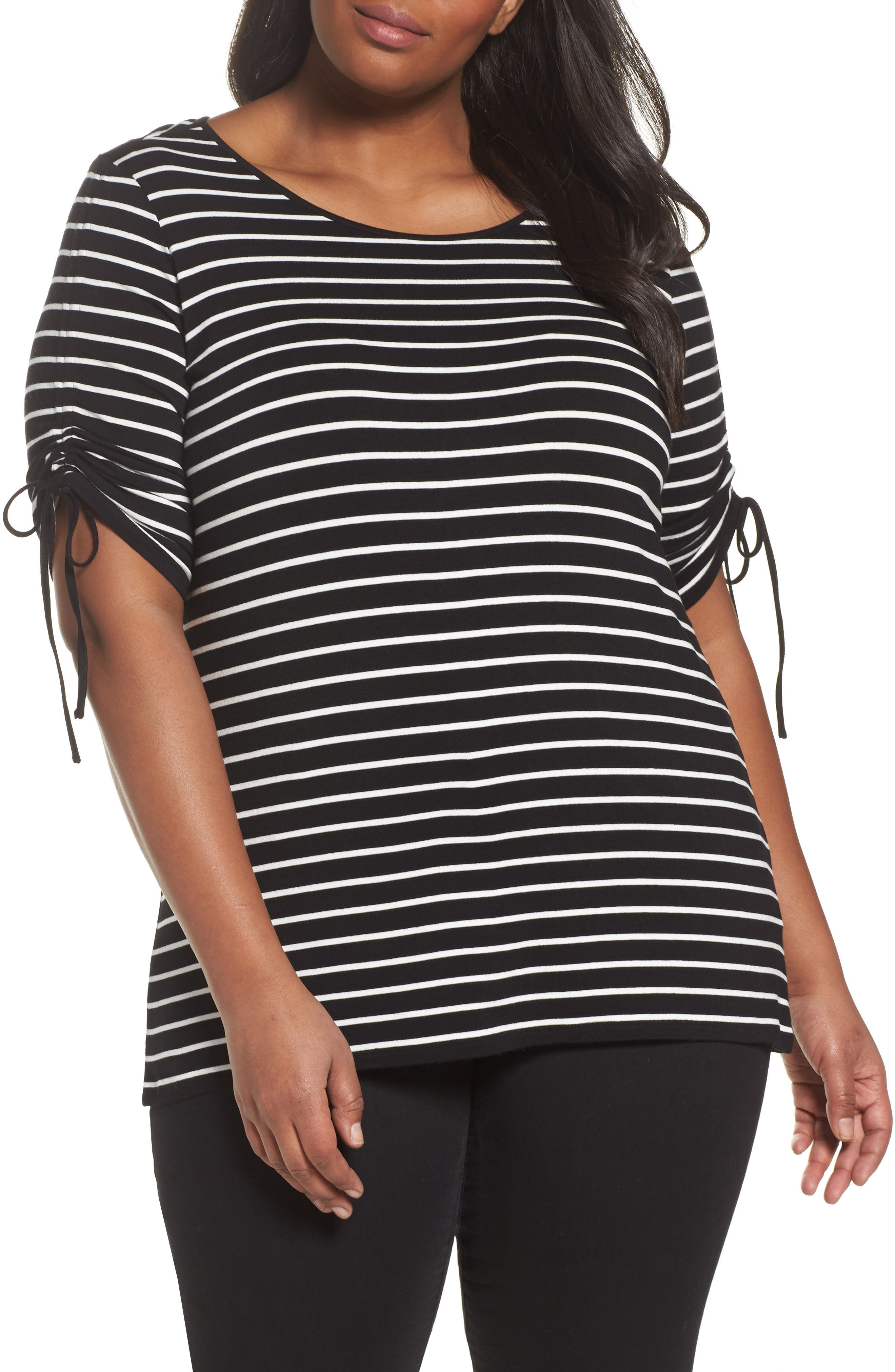 Vince Camuto Tie Sleeve Top (Plus Size)