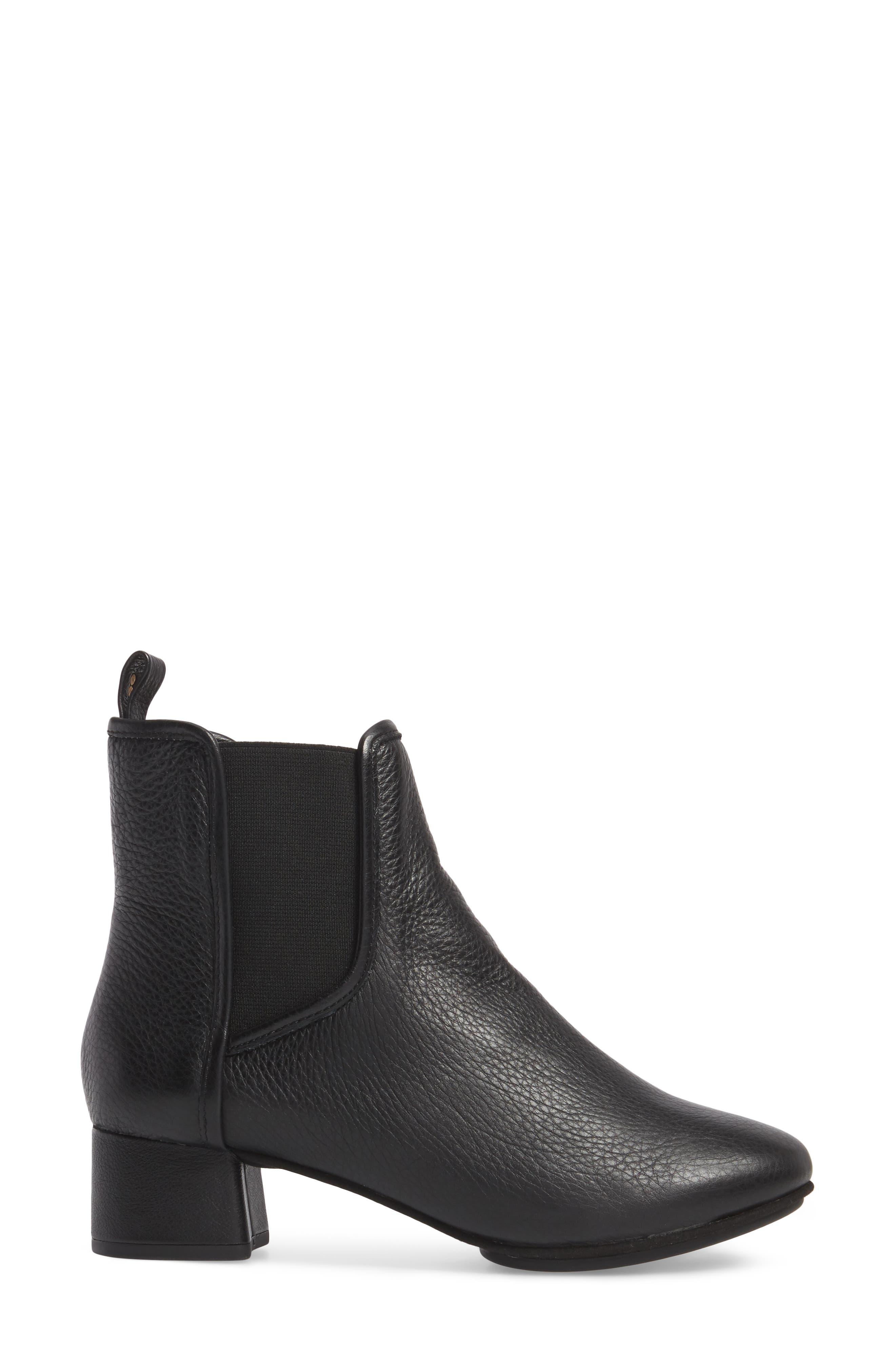 Penelope Chelsea Boot,                             Alternate thumbnail 3, color,                             Black Leather