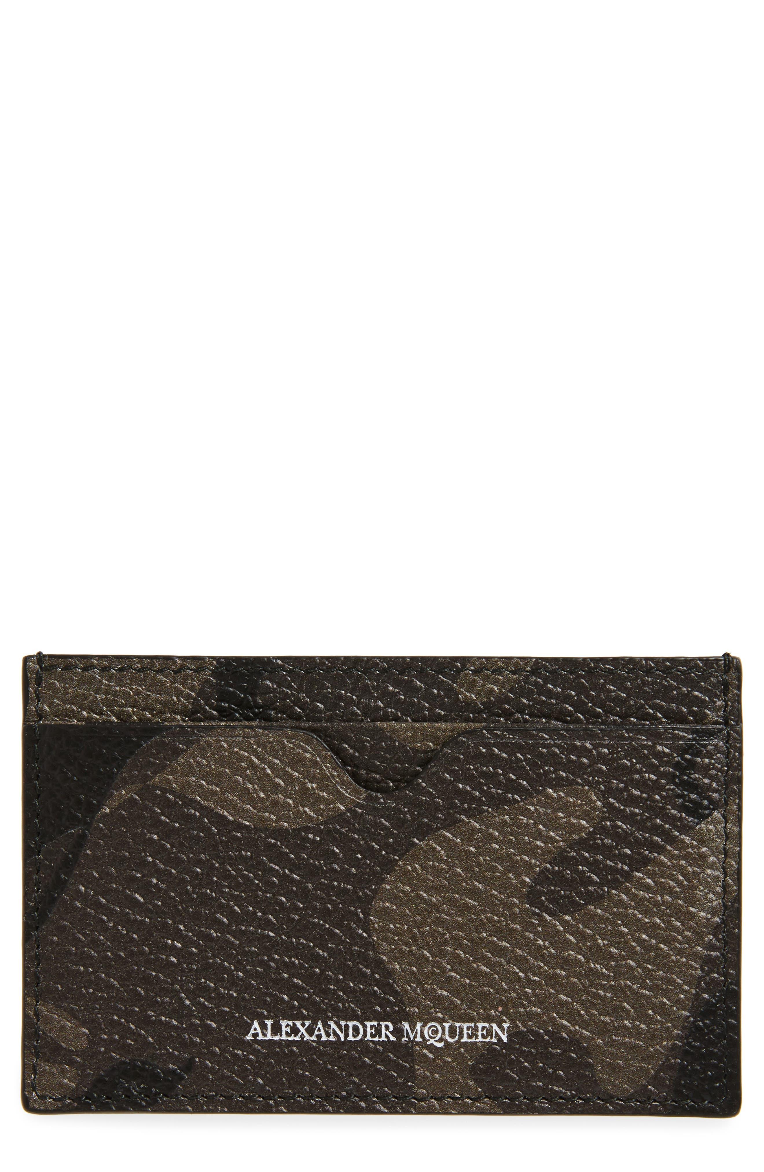 Camo Leather Card Case,                         Main,                         color, Military