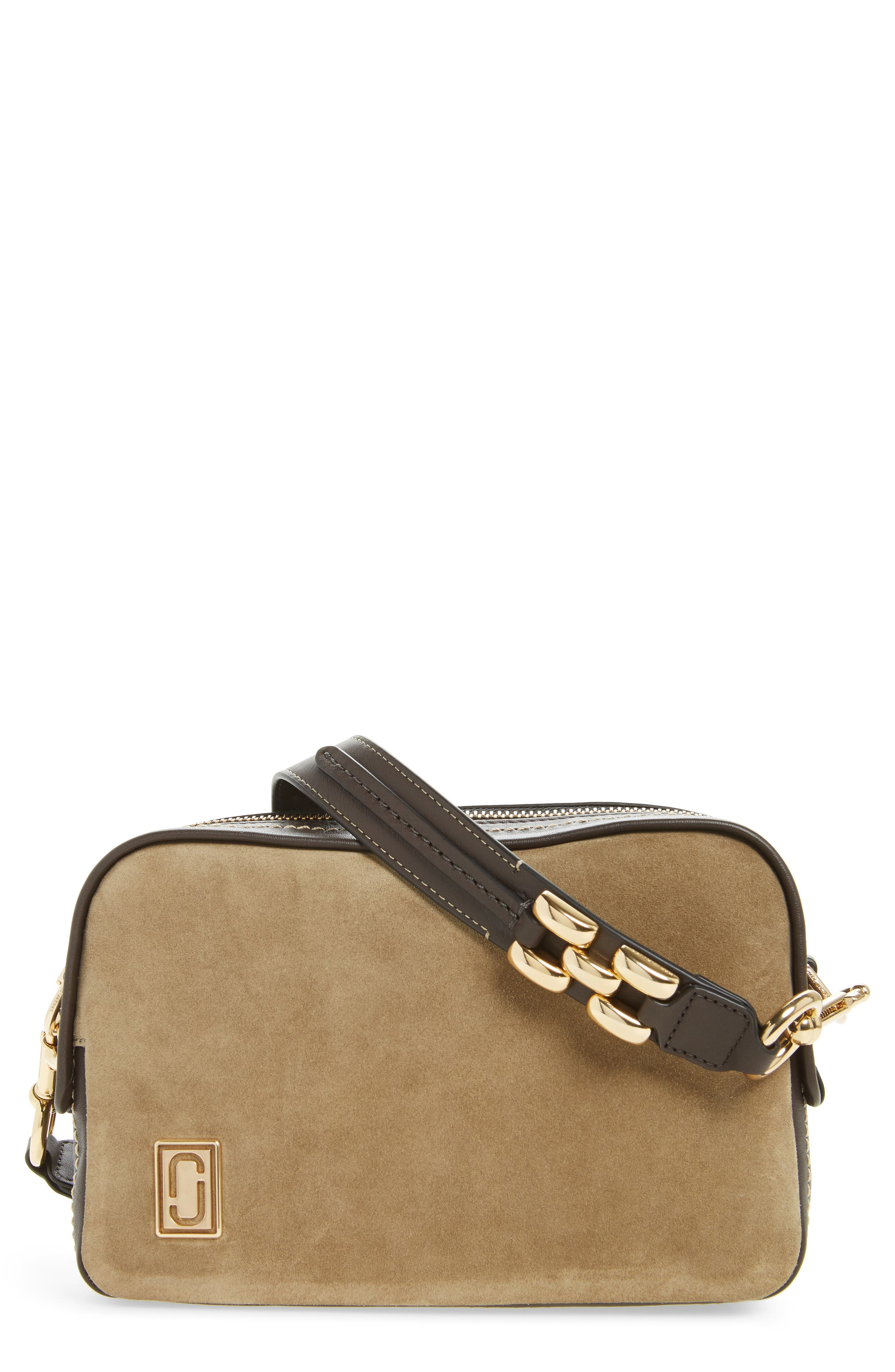 The Squeeze Suede & Leather Shoulder Bag,                         Main,                         color, Pyrite