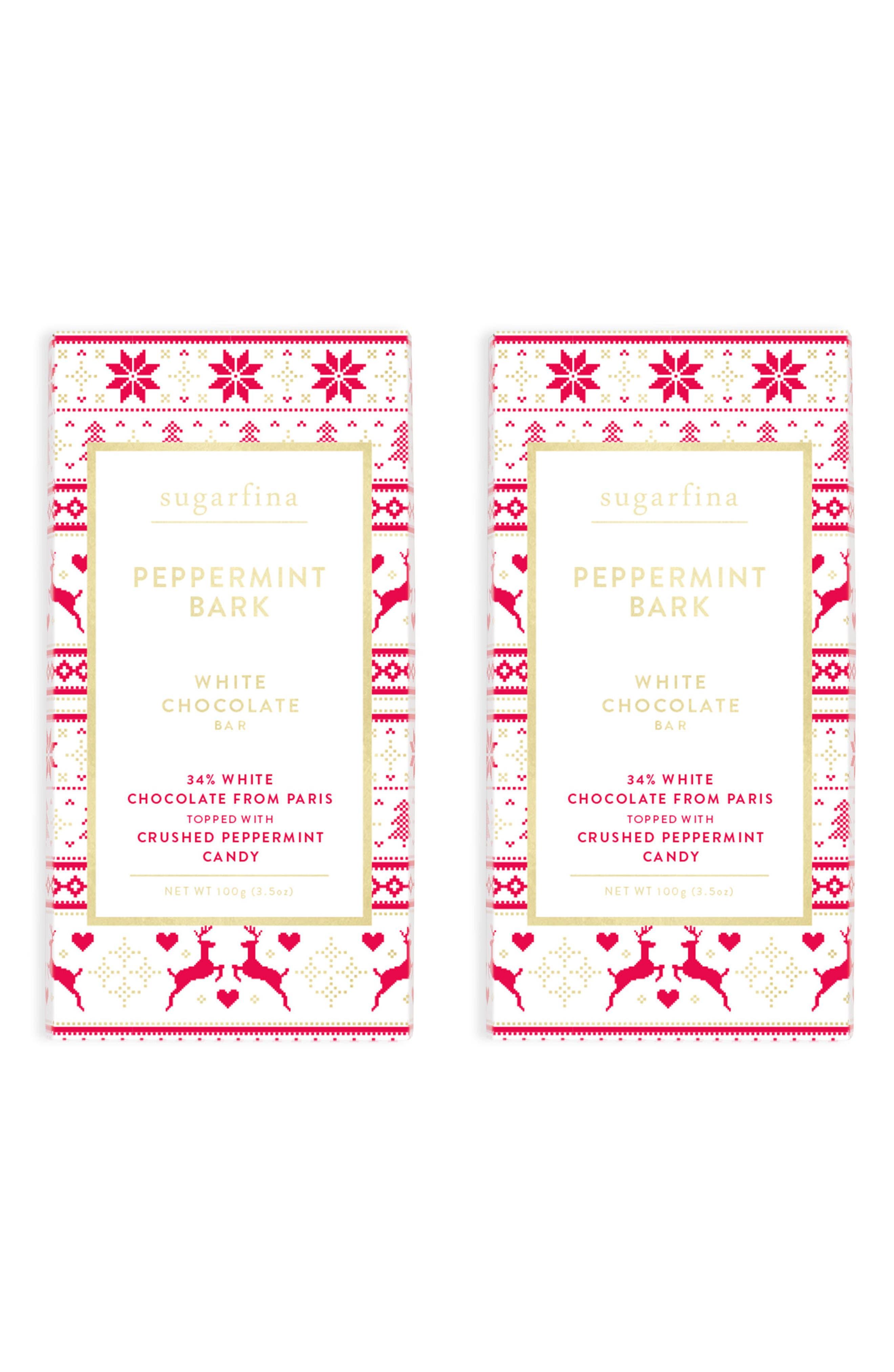 sugarfina Set of 2 White Chocolate Peppermint Bark Chocolate Bar
