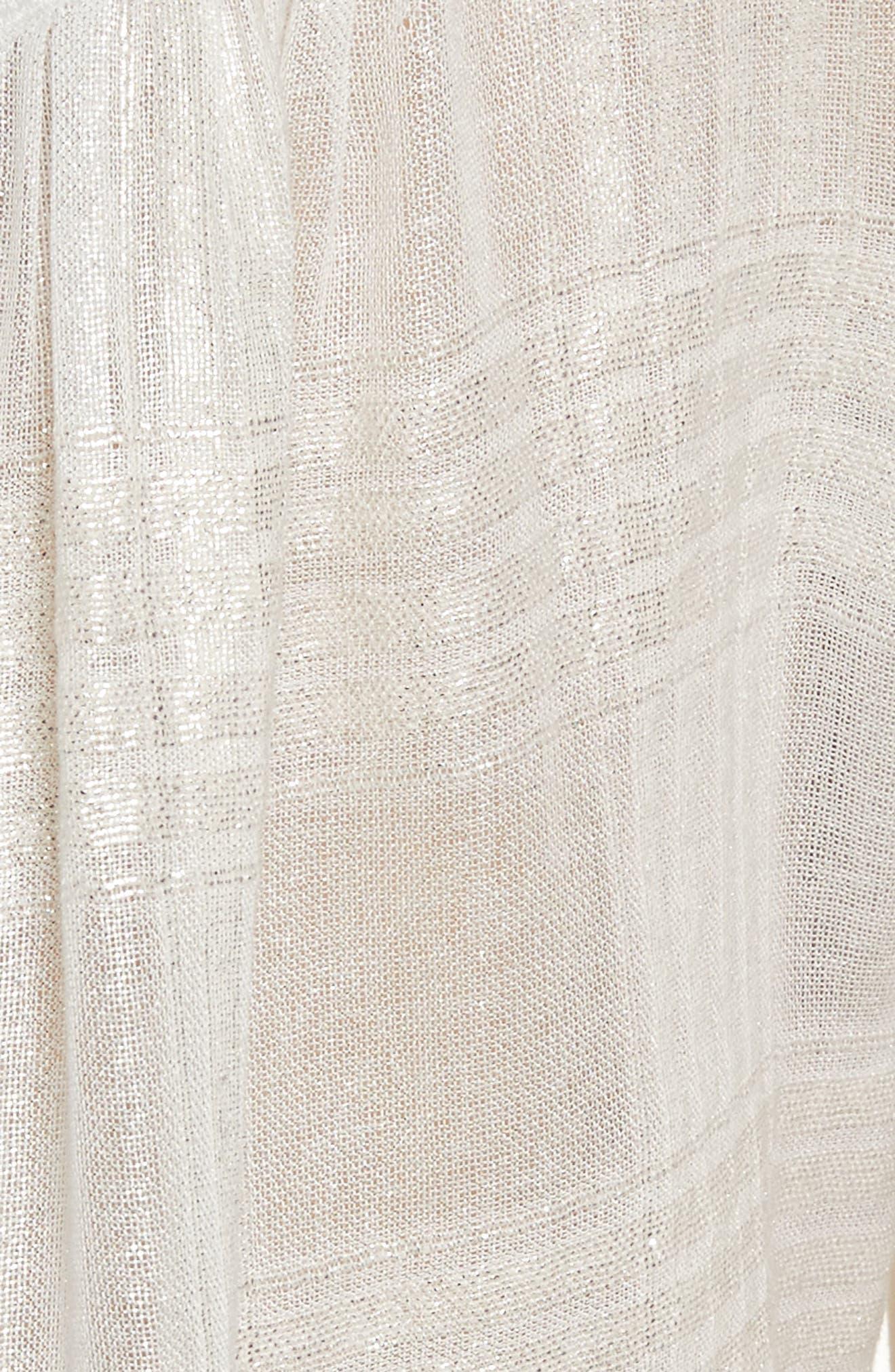 Ginesa Lace Yoke Metallic Blouse,                             Alternate thumbnail 5, color,                             Off White