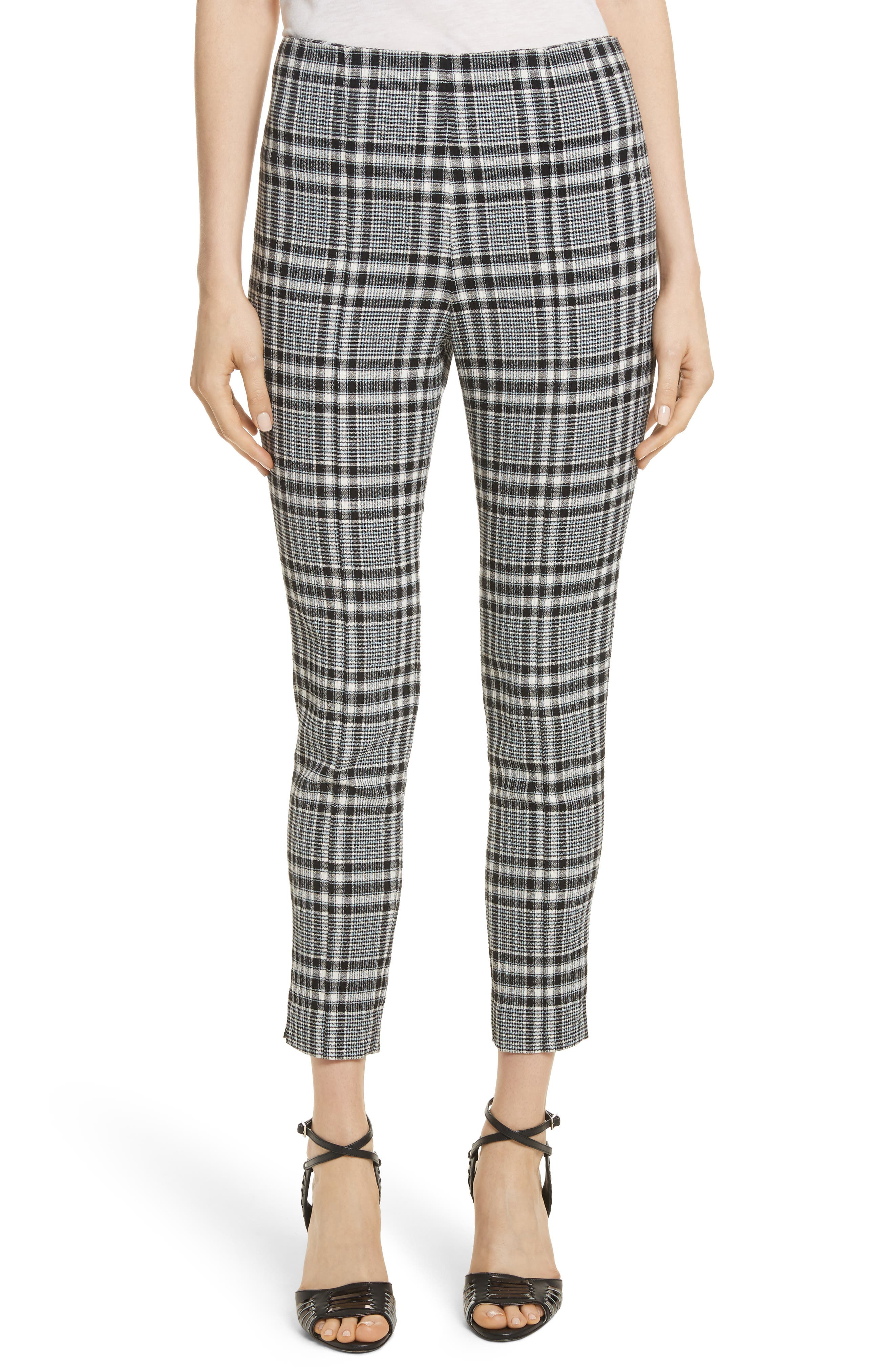 Honolulu Plaid Crop Pants,                             Main thumbnail 1, color,                             Black/ Blue