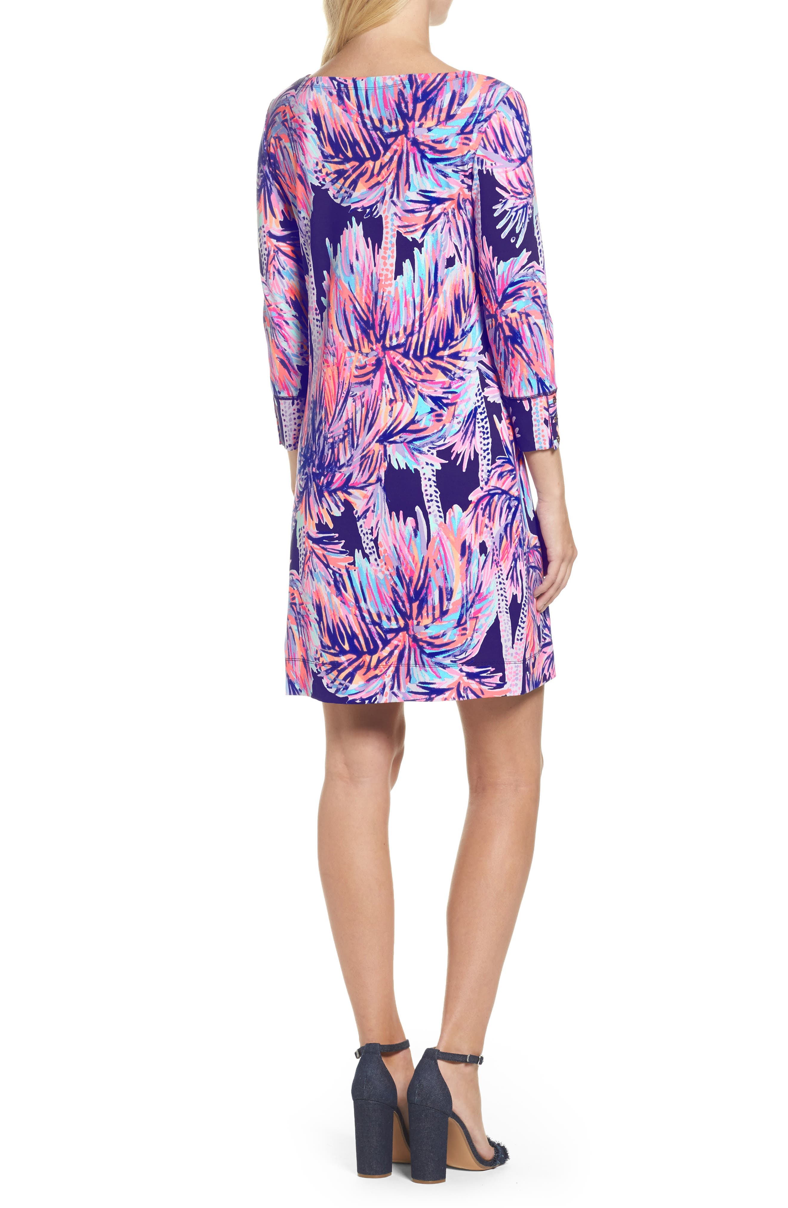 Sophie UPF 50+ Dress,                             Alternate thumbnail 2, color,                             Bright Navy Palms Up