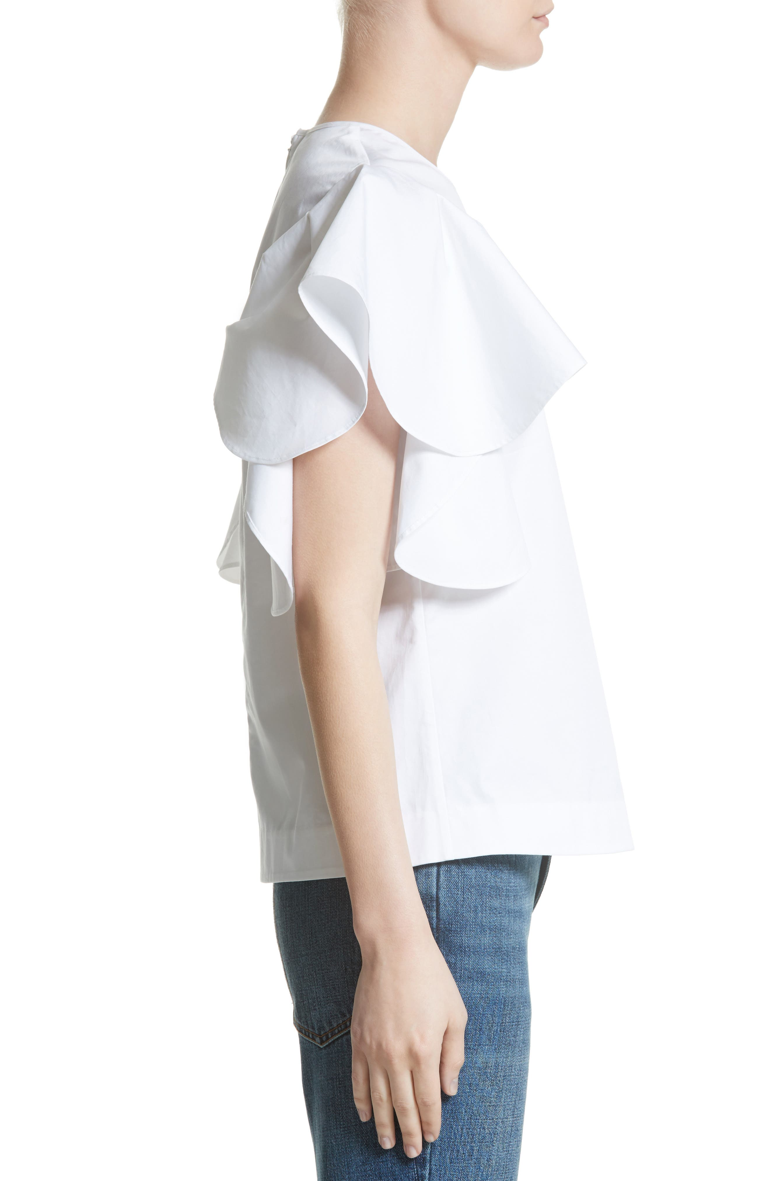 Alternate Image 3  - Co Ruffle Sleeve Cotton Poplin Top