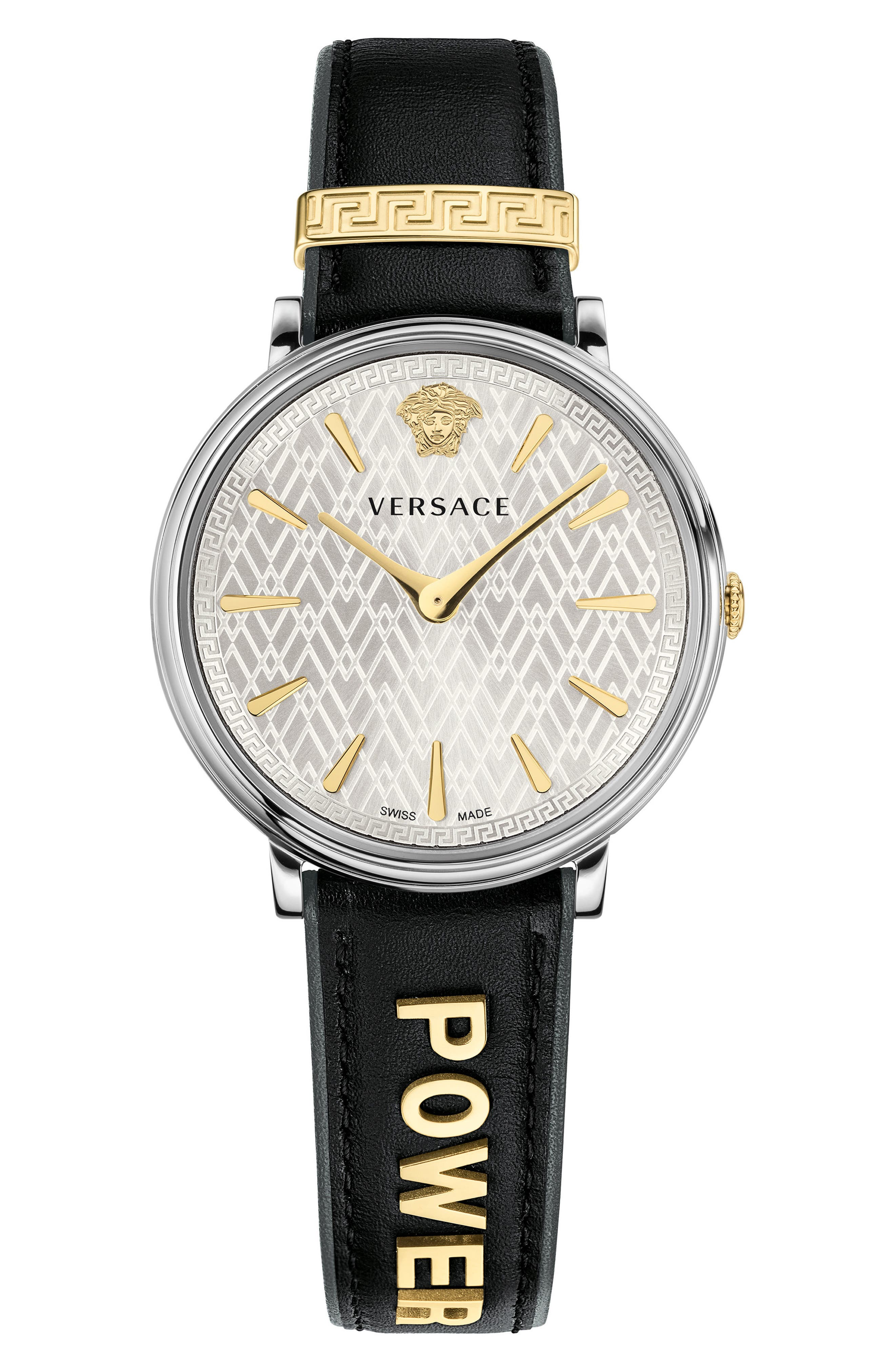 Manifesto Leather Strap Watch, 38mm,                         Main,                         color, Black/ Silver/ Gold