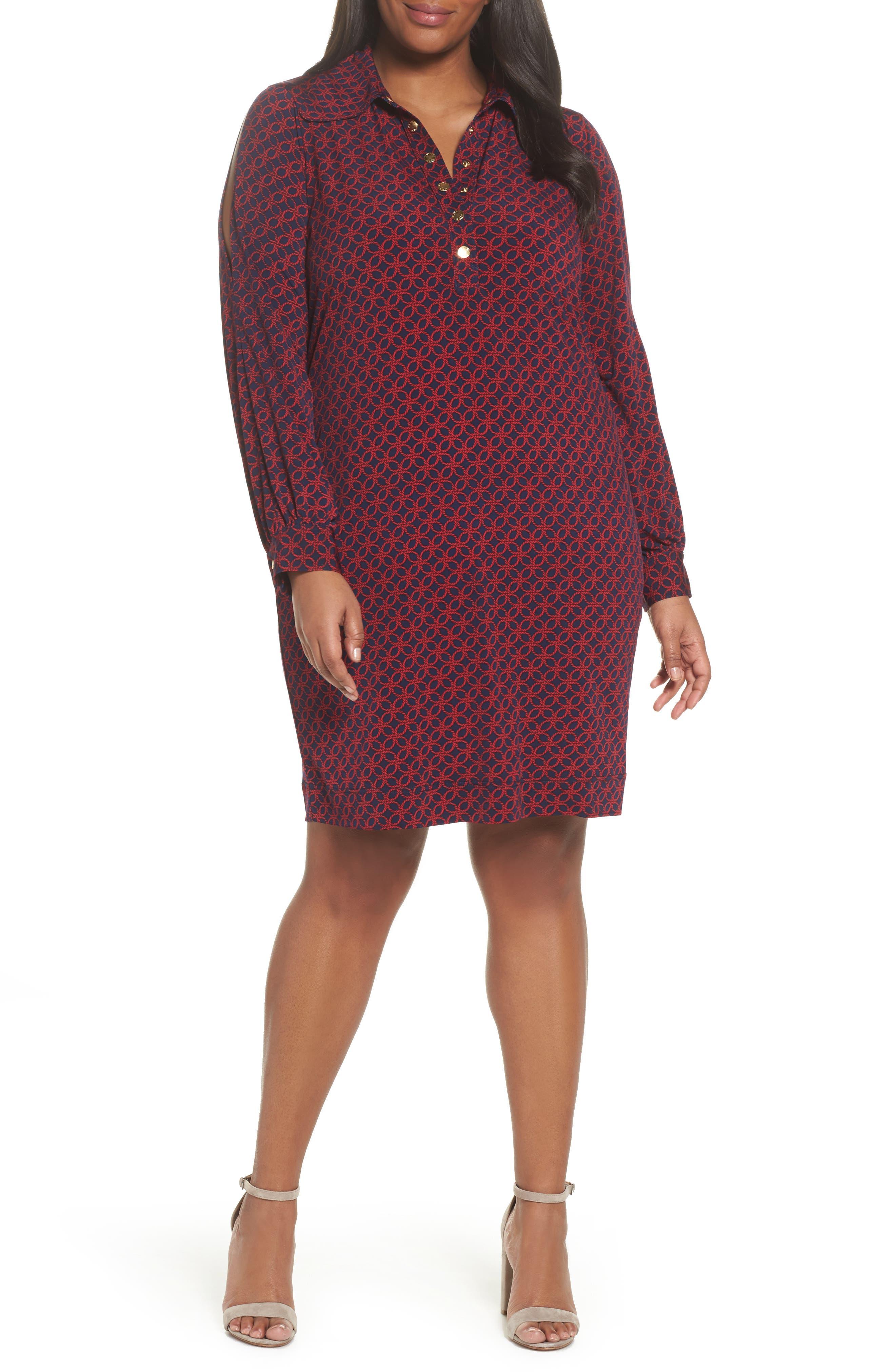 Main Image - MICHAEL Michael Kors Geo Rope Print Shirtdress (Plus Size)