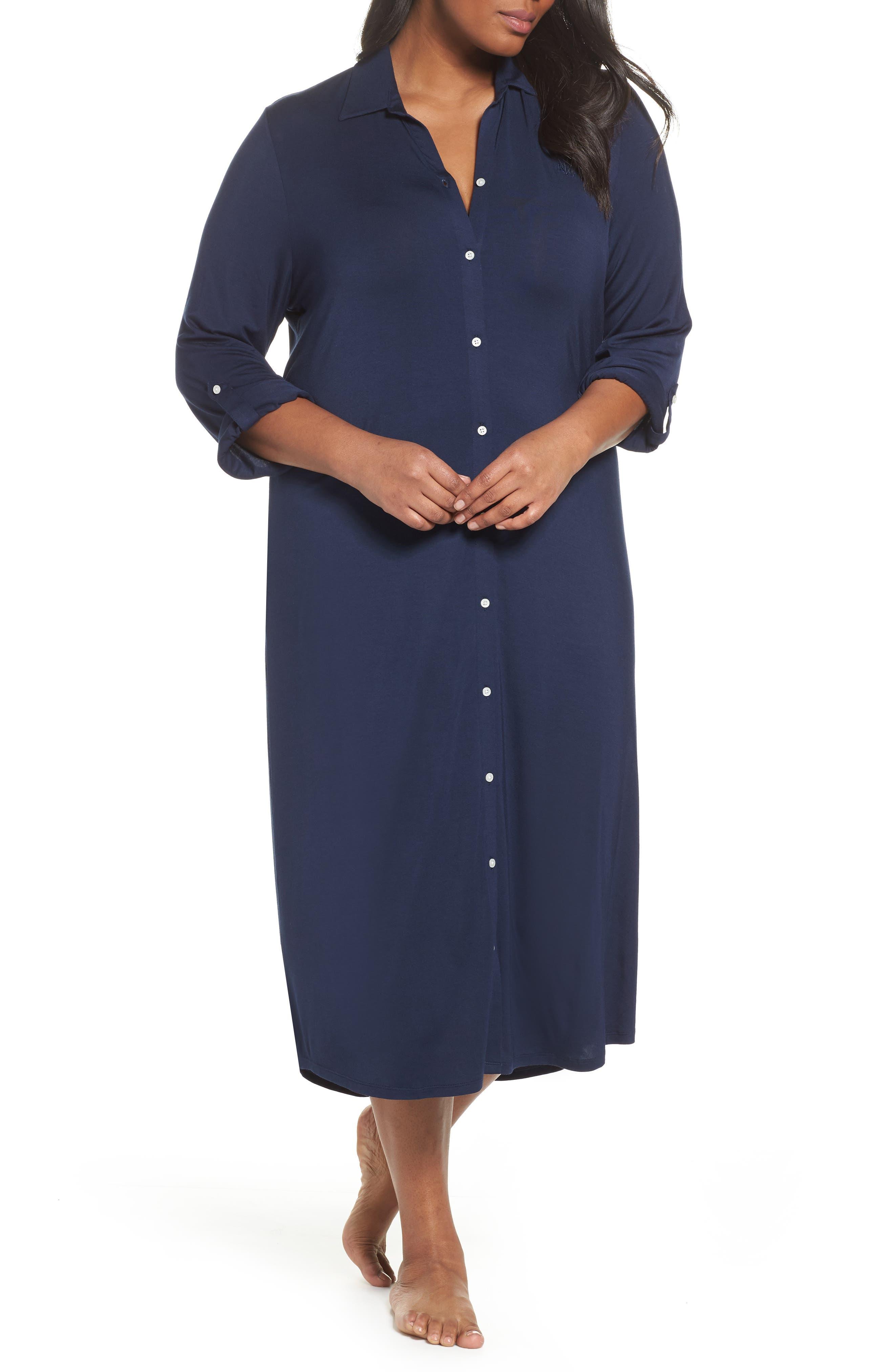 Alternate Image 1 Selected - Lauren Ralph Lauren Long Nightshirt (Plus Size)