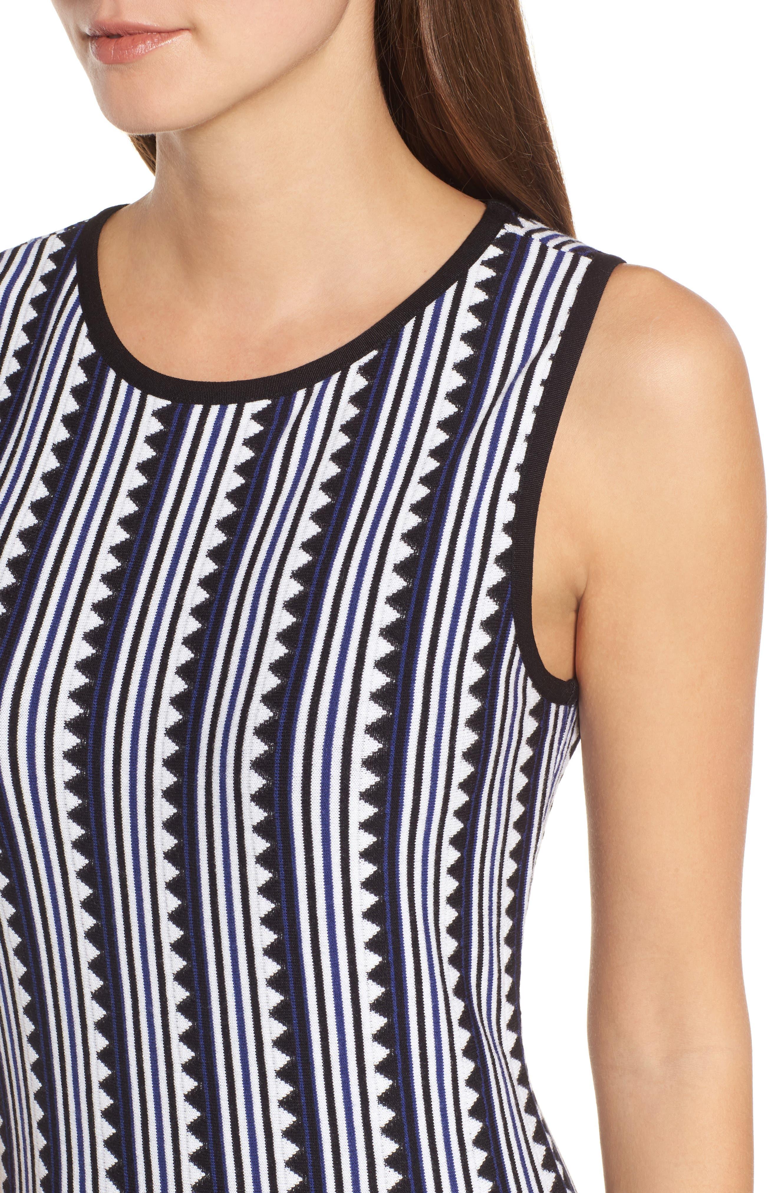 Triangle Knit Twirl Dress,                             Alternate thumbnail 4, color,                             Blue Multi