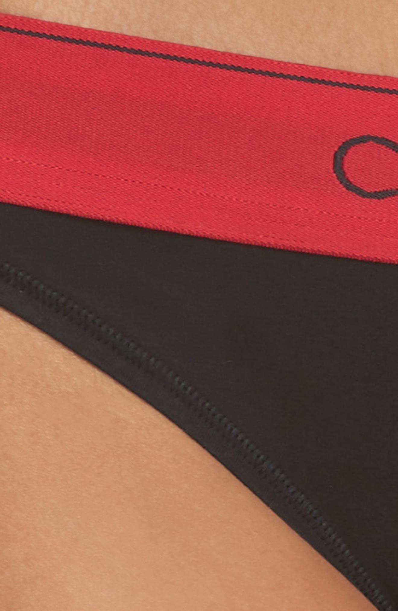 'Modern Cotton Collection' Cotton Blend Bikini,                             Alternate thumbnail 4, color,                             Black Empower