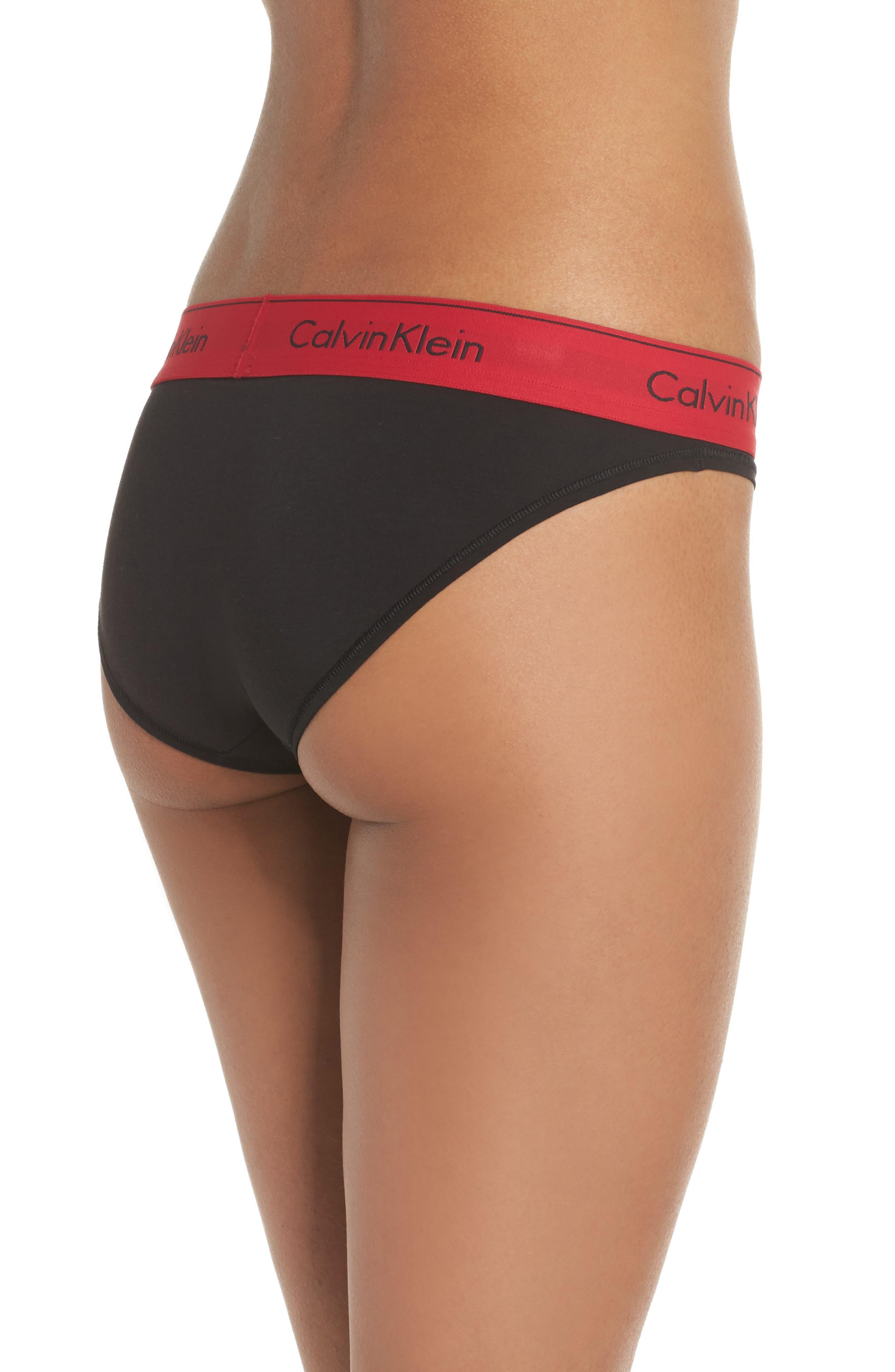 'Modern Cotton Collection' Cotton Blend Bikini,                             Alternate thumbnail 2, color,                             Black Empower
