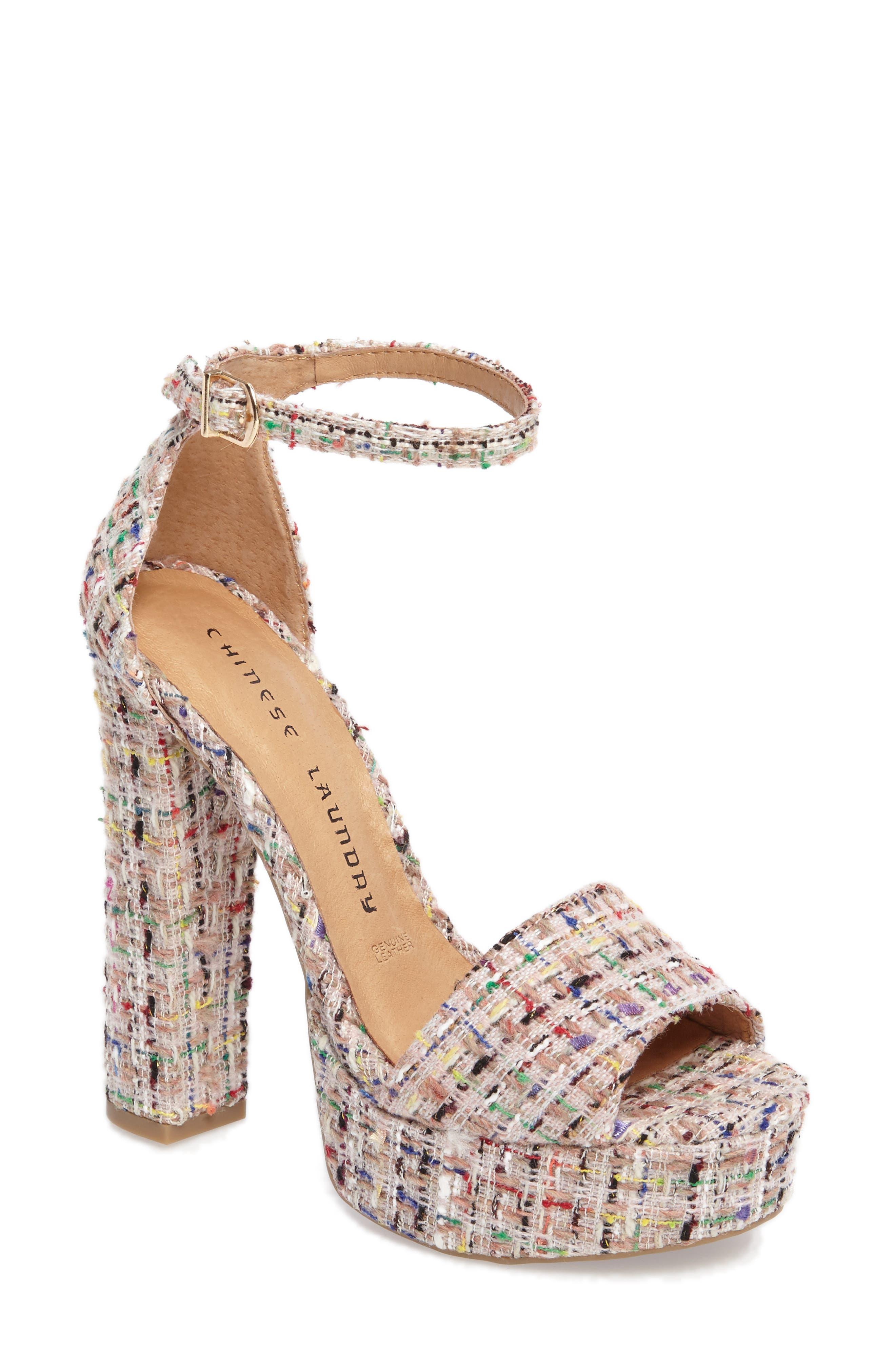 'Avenue' Sandal,                             Main thumbnail 1, color,                             Pink Tweed