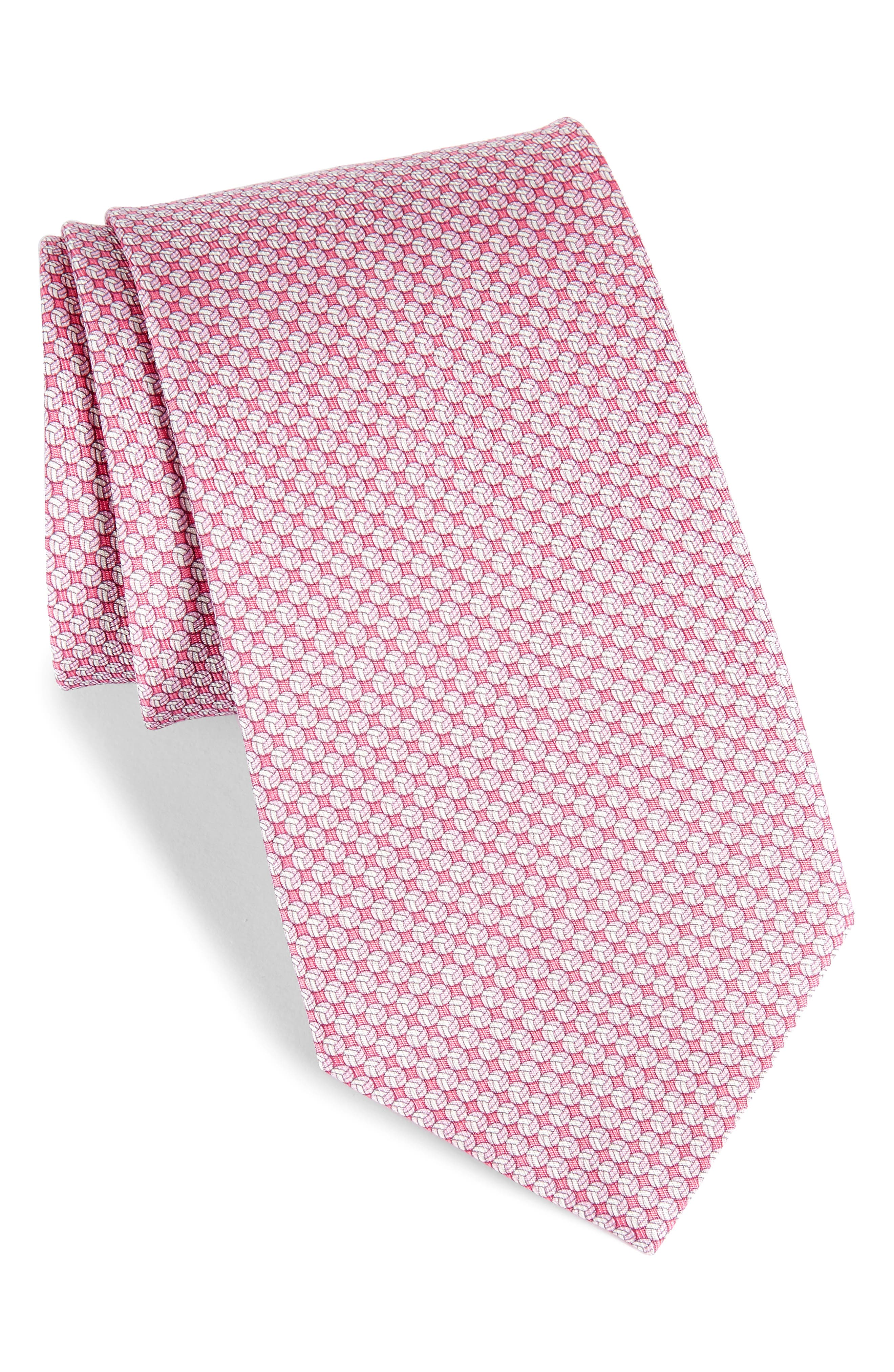 Eta Print Silk Tie,                             Main thumbnail 1, color,                             Pink