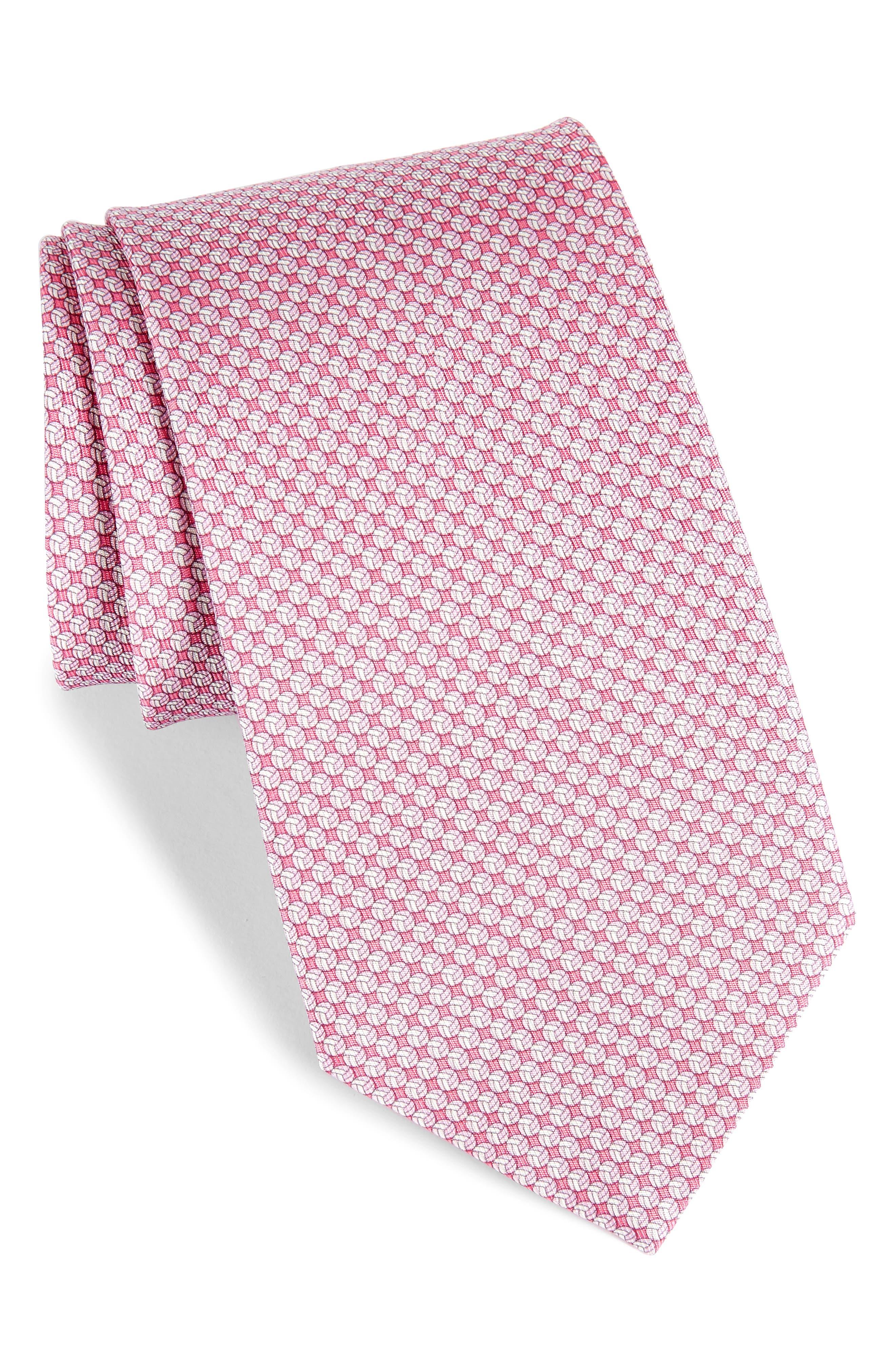 Eta Print Silk Tie,                         Main,                         color, Pink
