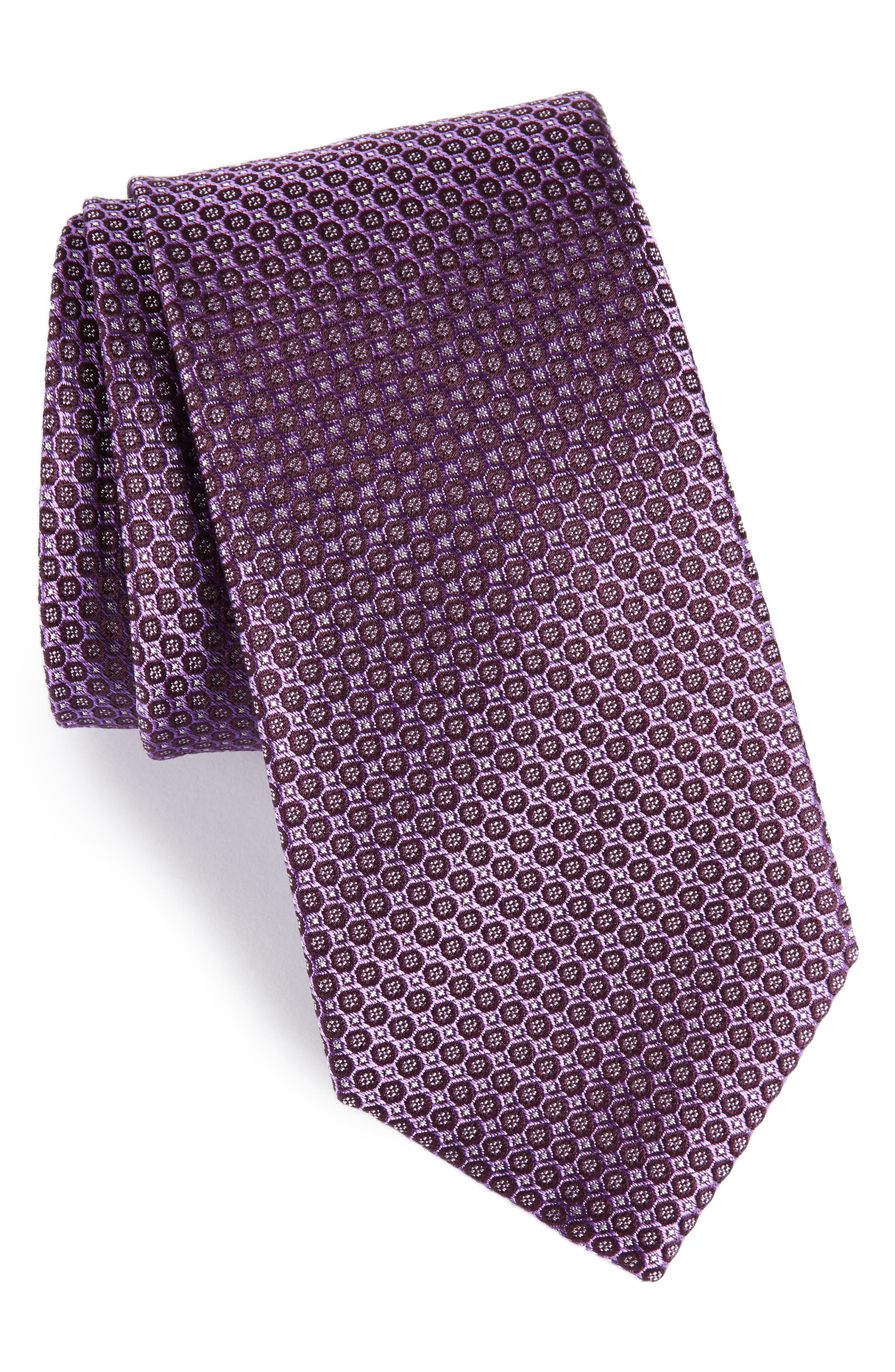 Park Ave Solid Silk Tie,                             Main thumbnail 1, color,                             Purple