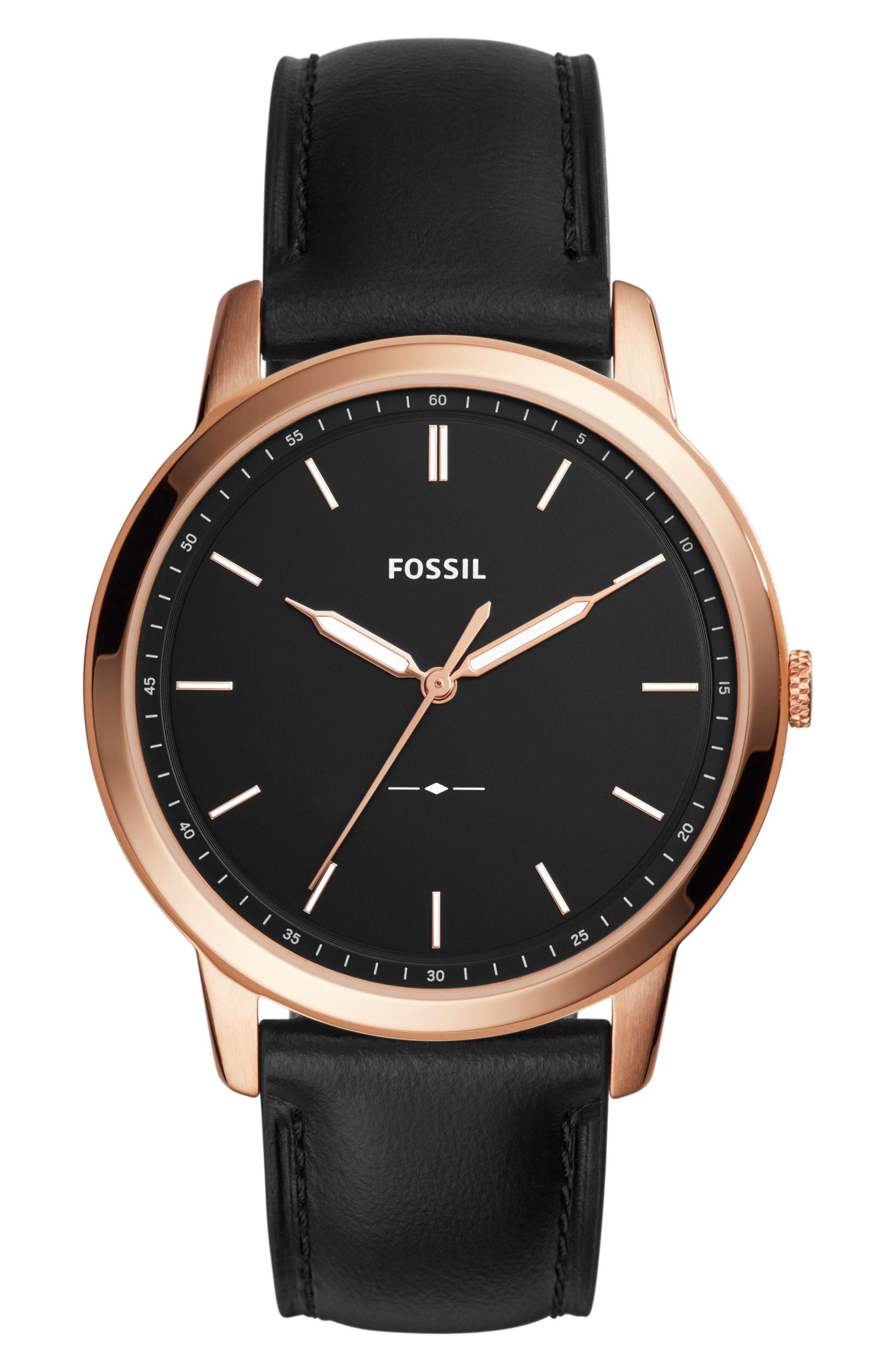 Minimalist Leather Strap Watch, 44mm,                         Main,                         color, Black/ Rose Gold
