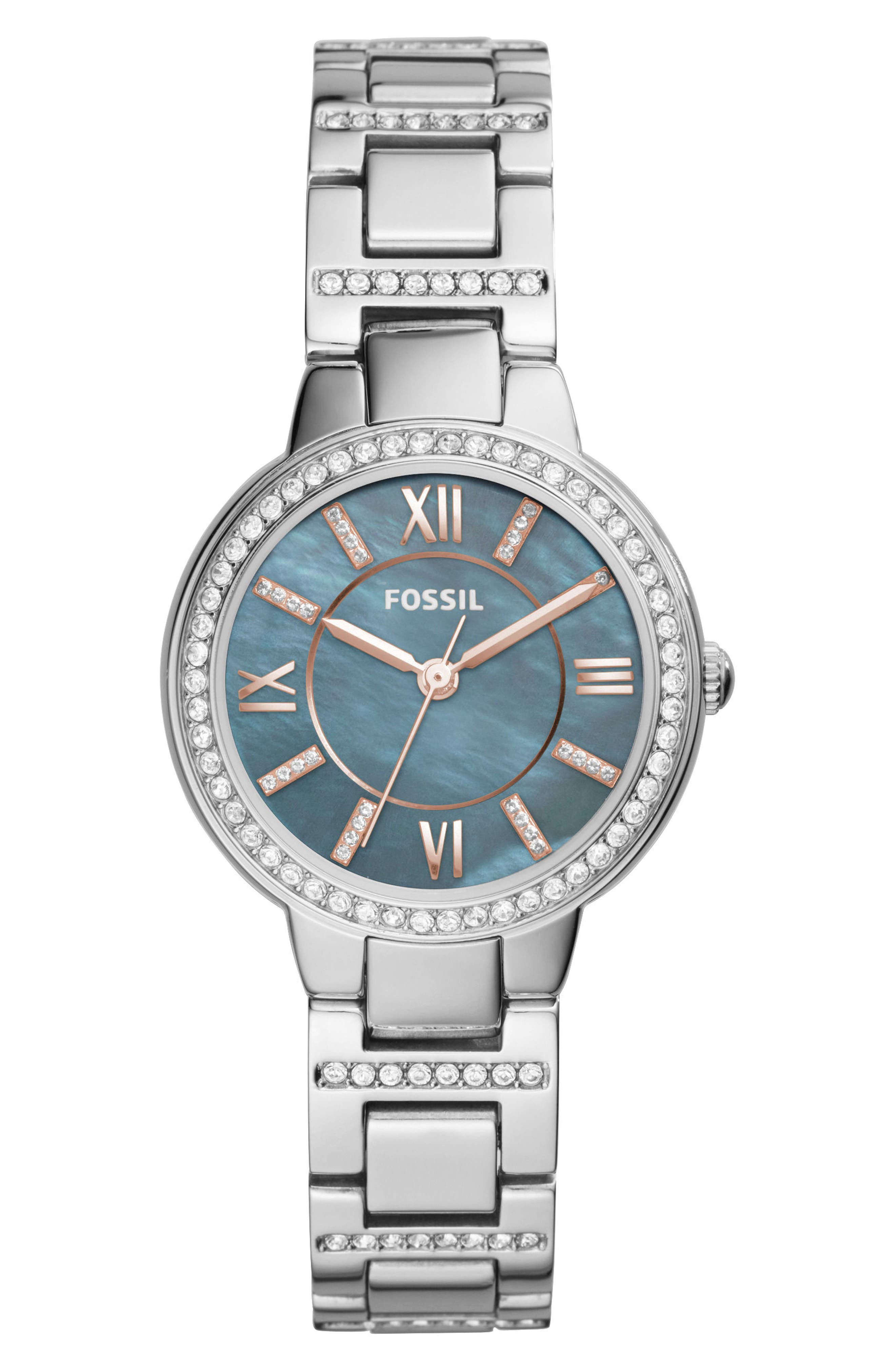 'Virginia' Crystal Accent Bracelet Watch, 30mm,                             Main thumbnail 1, color,                             Silver/ Multi/ Silver