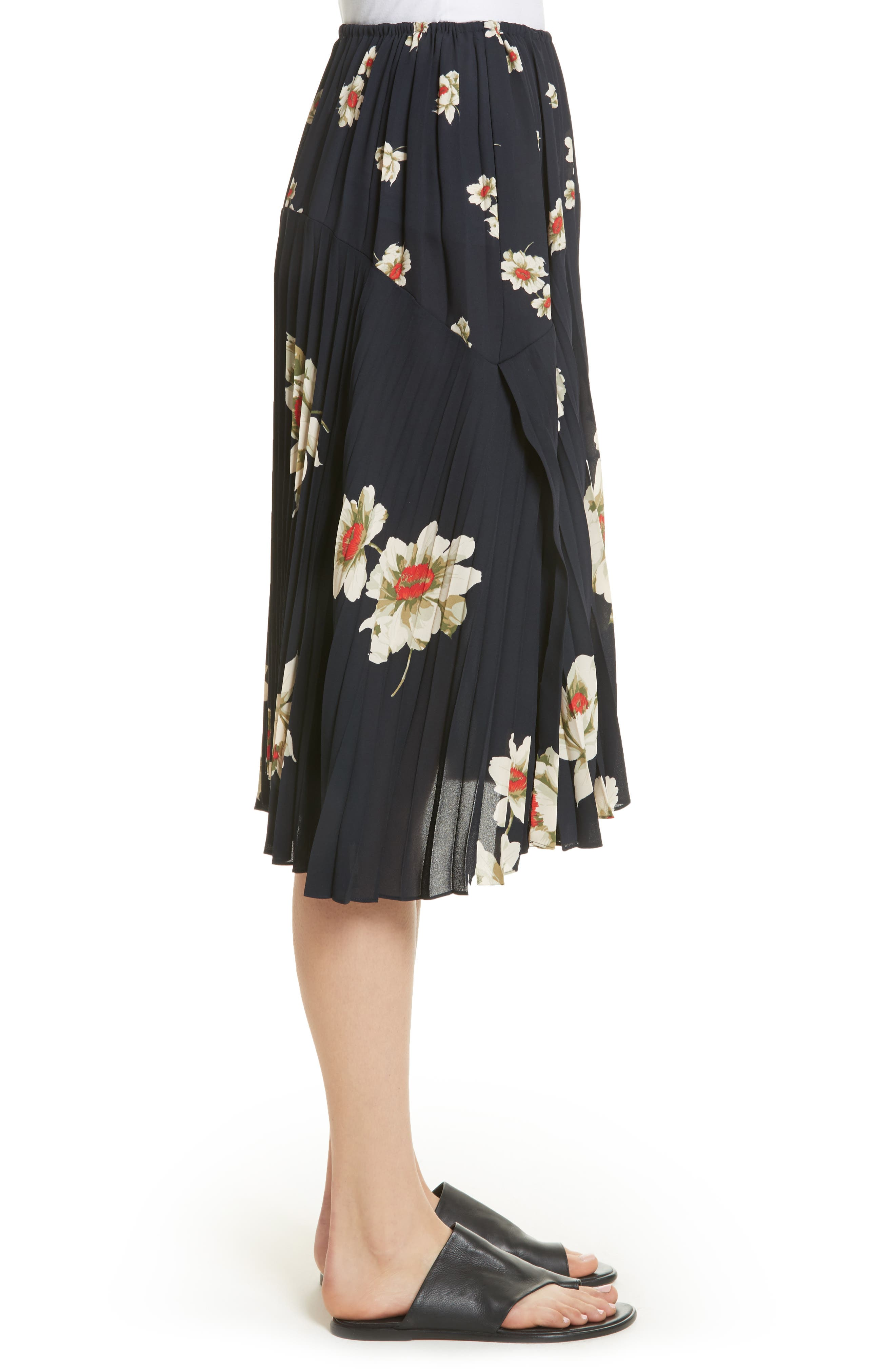 Gardenia Floral Pleated Skirt,                             Alternate thumbnail 3, color,                             Coastal