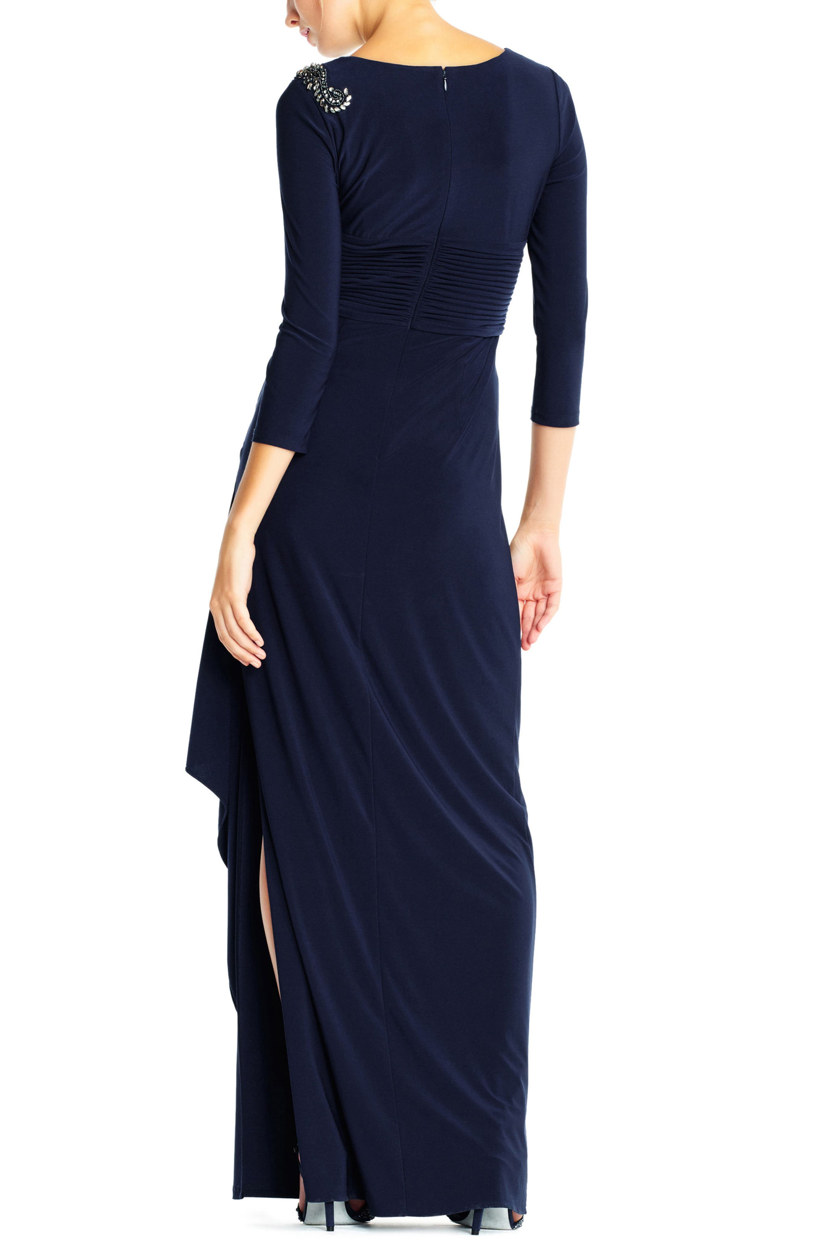 Jewel Shoulder Jersey Gown,                             Alternate thumbnail 2, color,                             Midnight