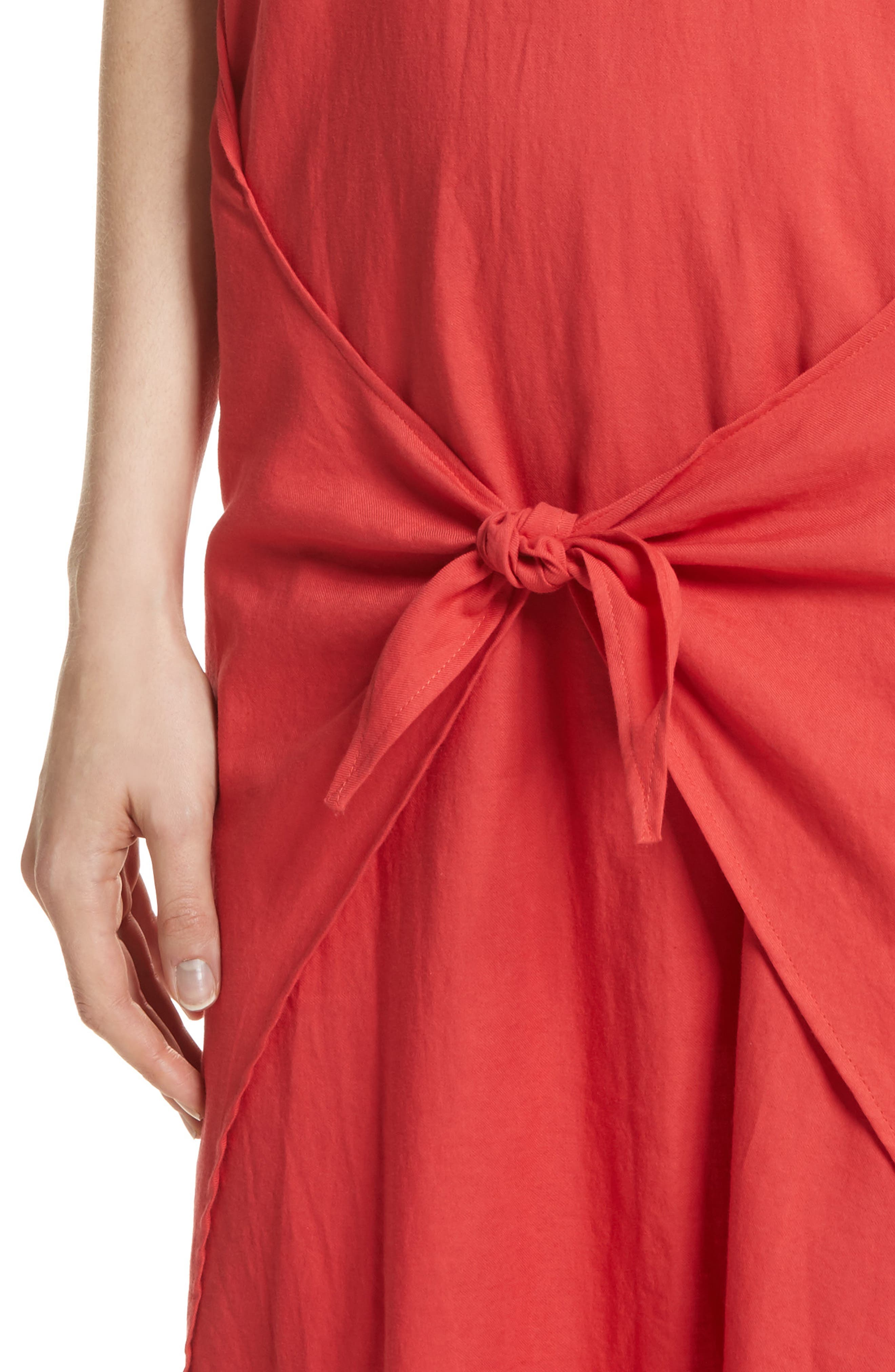 Wrap Front Maxi Dress,                             Alternate thumbnail 4, color,                             Poppy