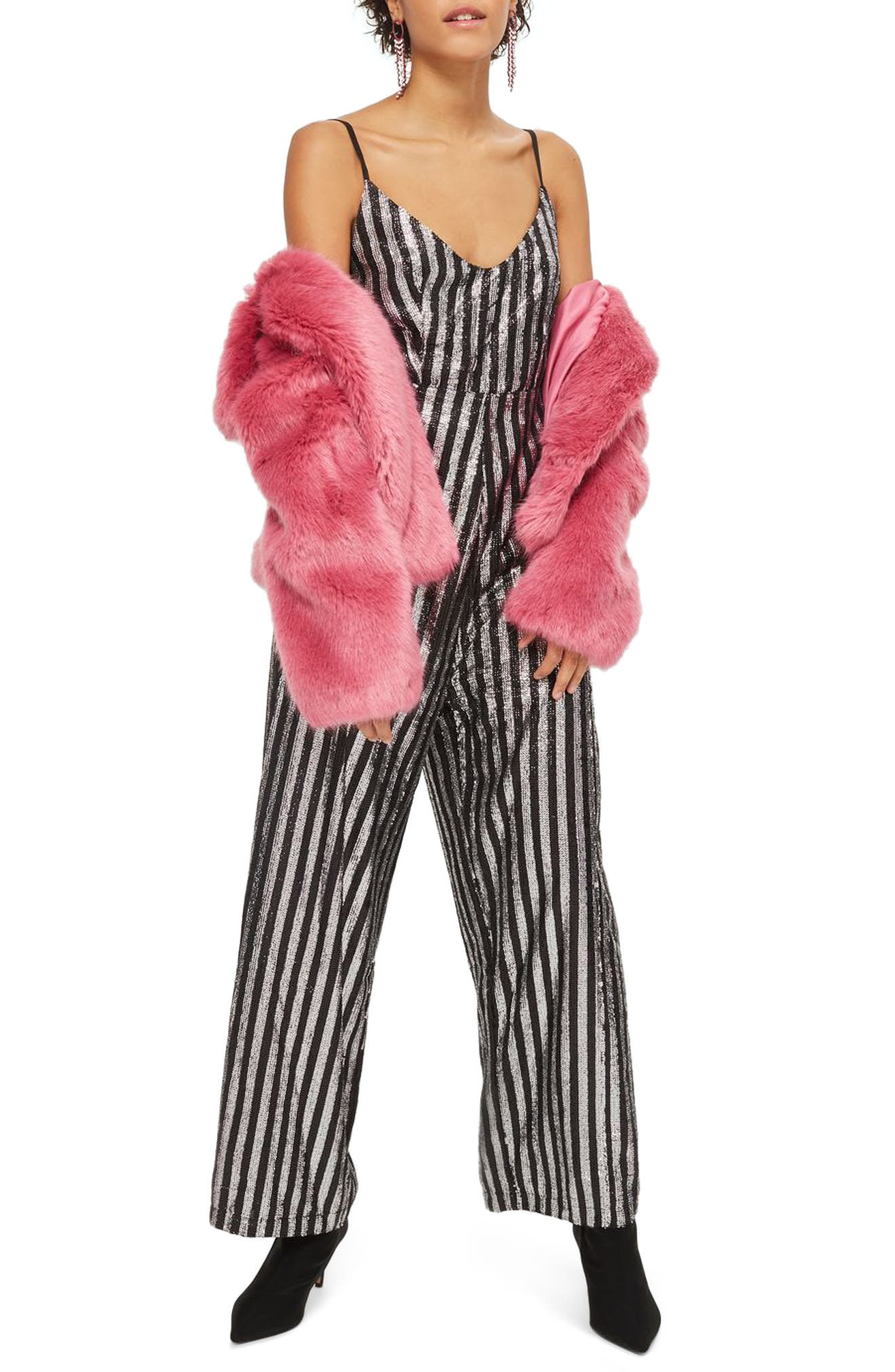 Sequin Stripe Jumpsuit,                             Main thumbnail 1, color,                             Silver Multi
