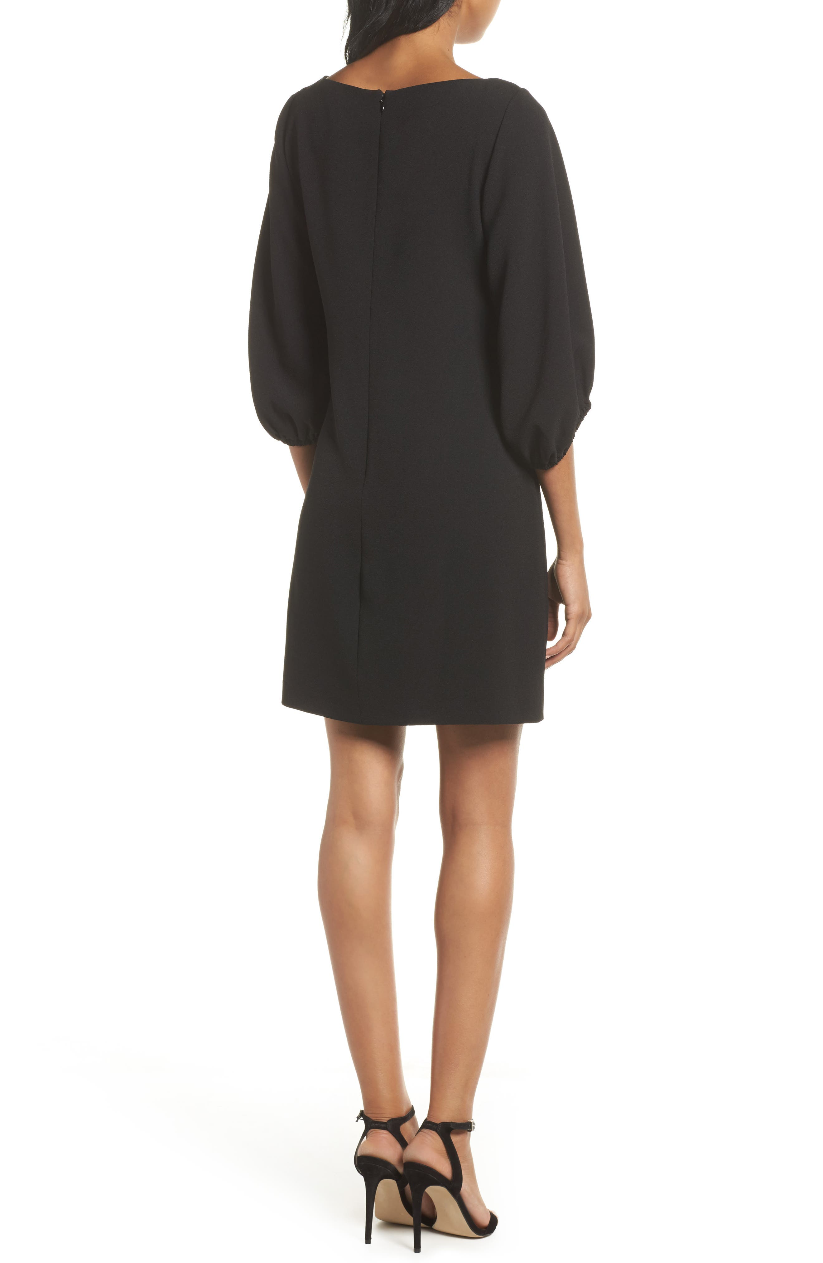 Bloused Sleeve Shift Dress,                             Alternate thumbnail 2, color,                             Black