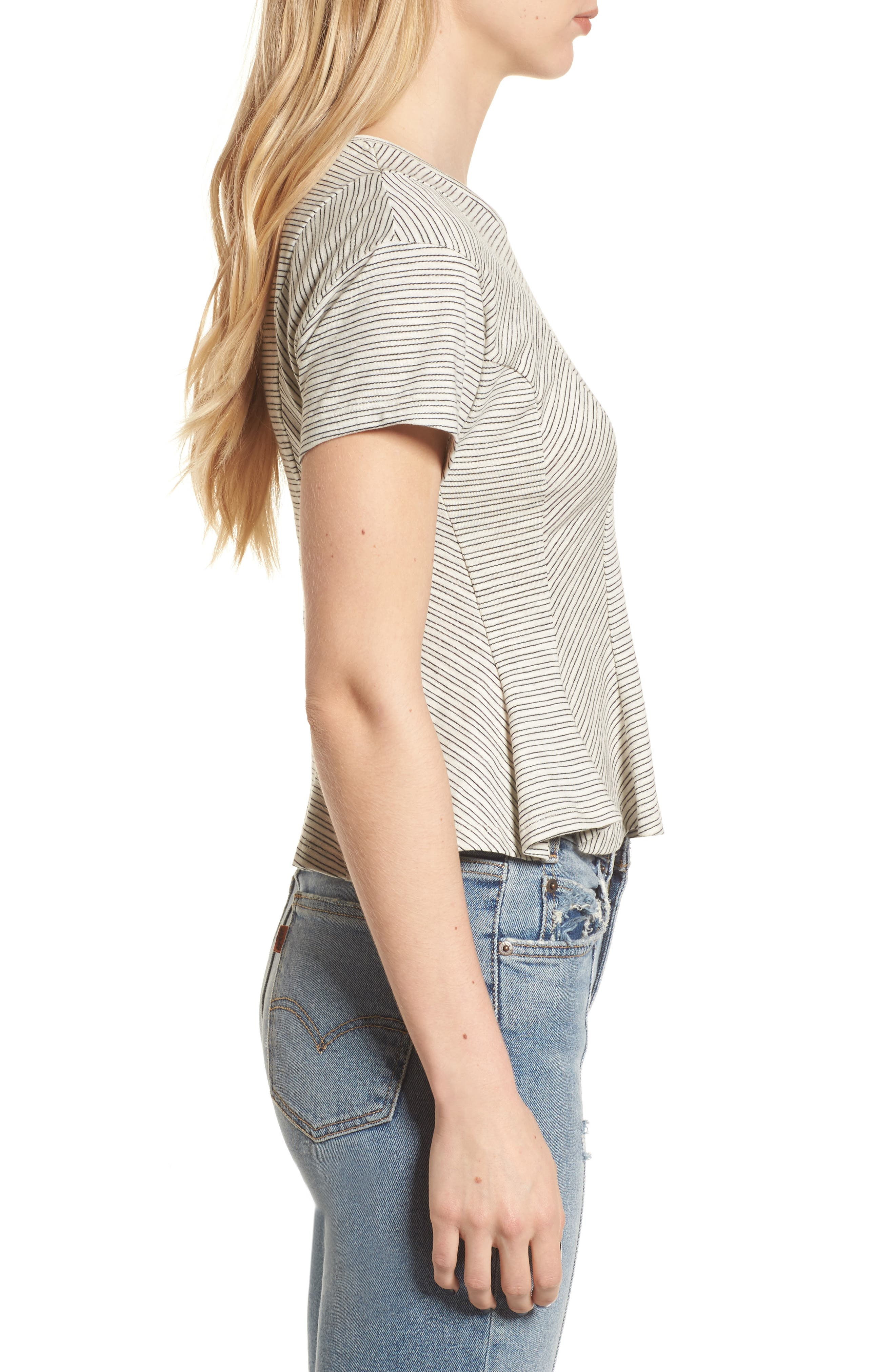 Stripe Peplum Tee,                             Alternate thumbnail 3, color,                             Ivory-Black Stripes