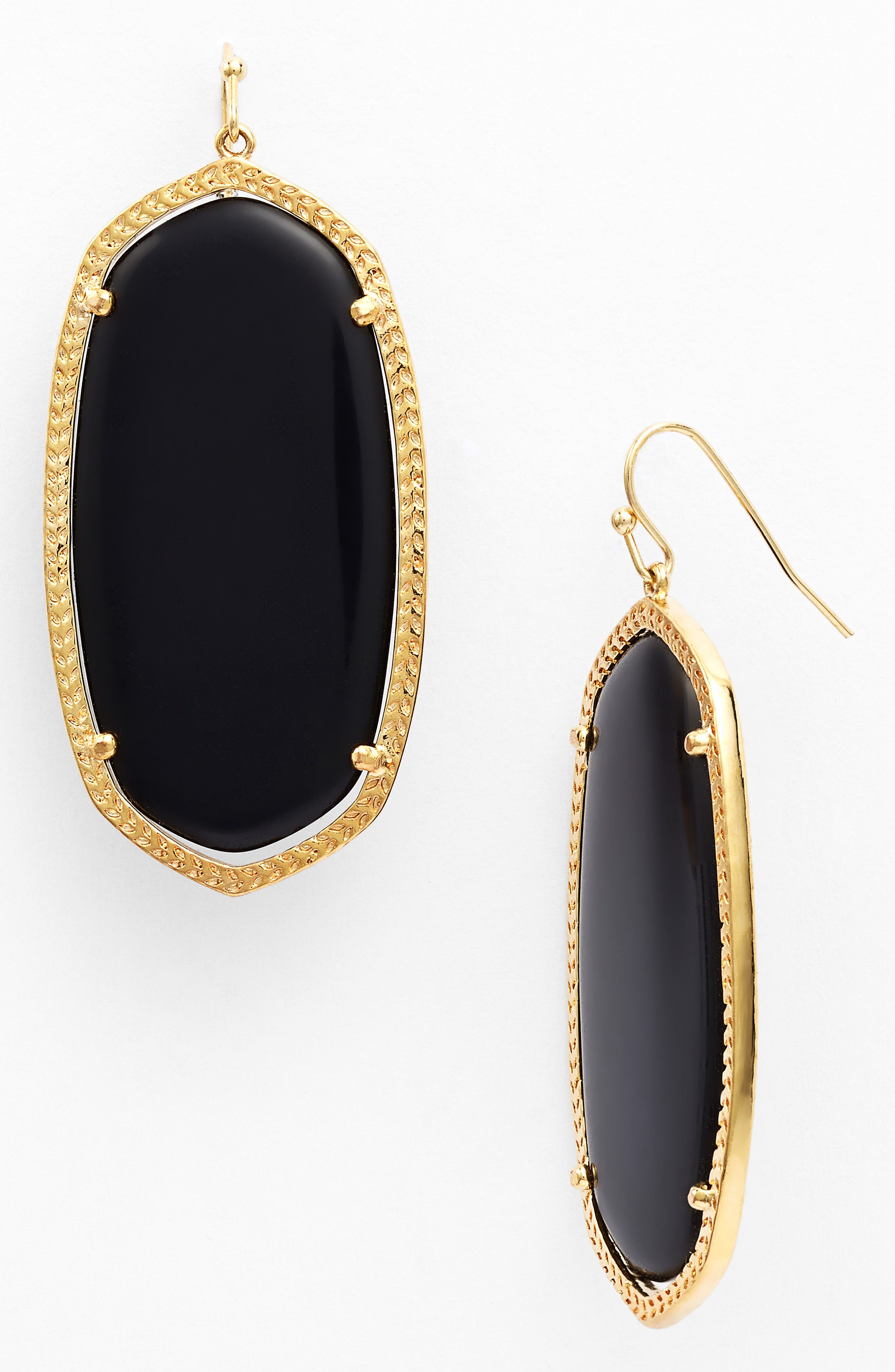 Danielle - Large Oval Statement Earrings,                         Main,                         color, Black/ Gold