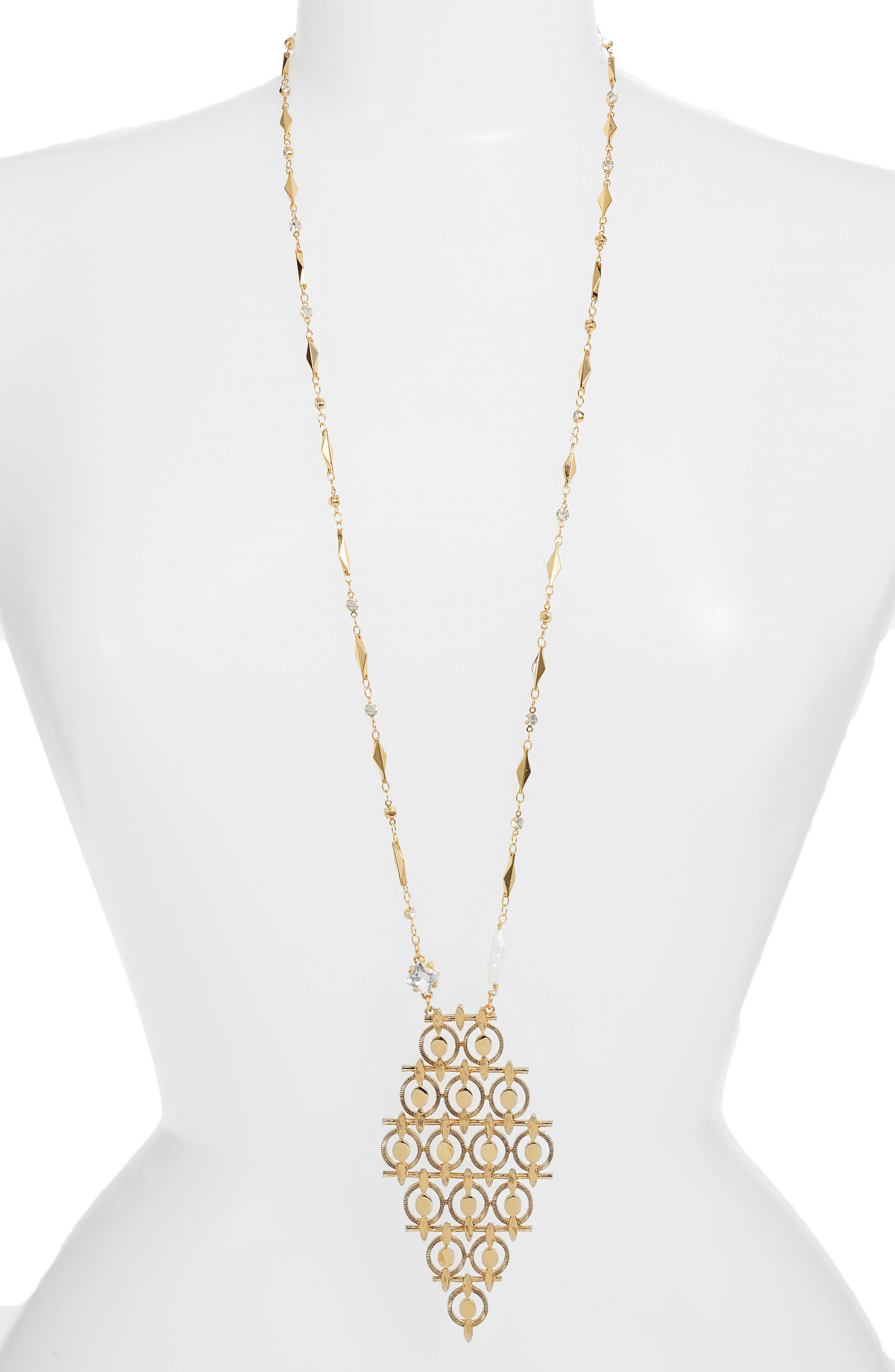 Diamond Shaped Long Pendant Necklace,                         Main,                         color, Gold