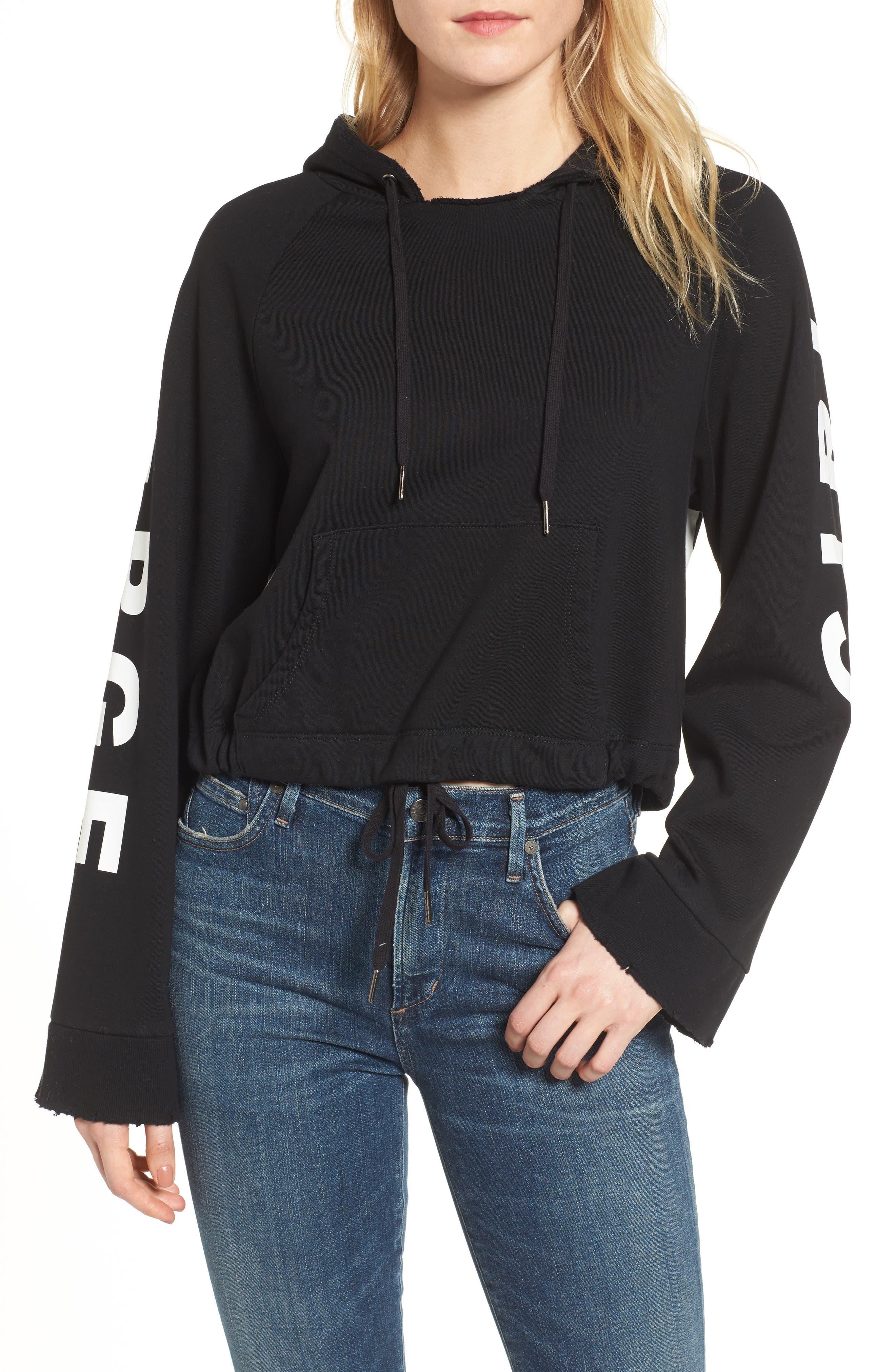 Girl on the Verge Crop Sweatshirt,                         Main,                         color, Black