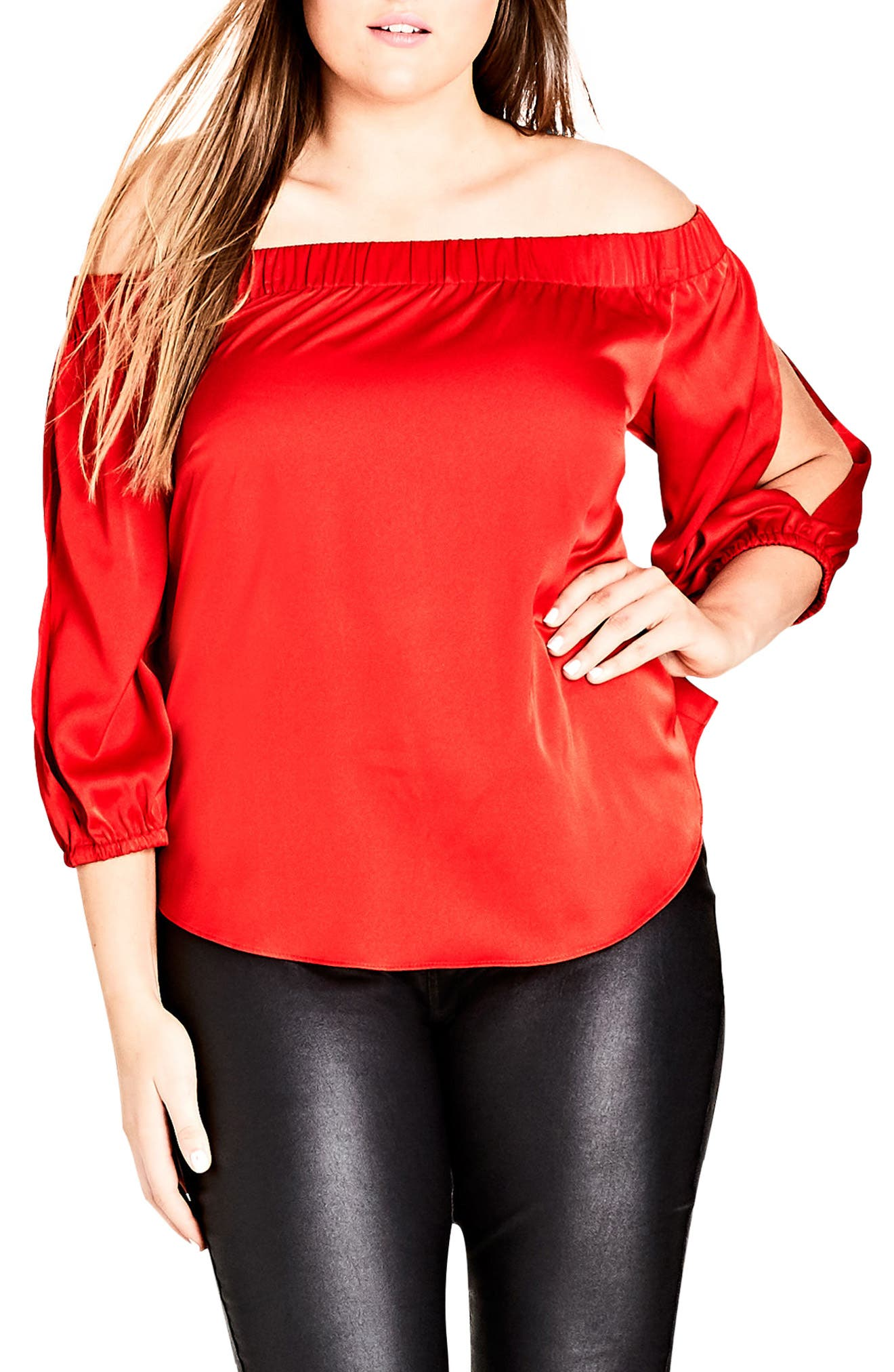 Off the Shoulder Satin Top,                             Main thumbnail 1, color,                             Red