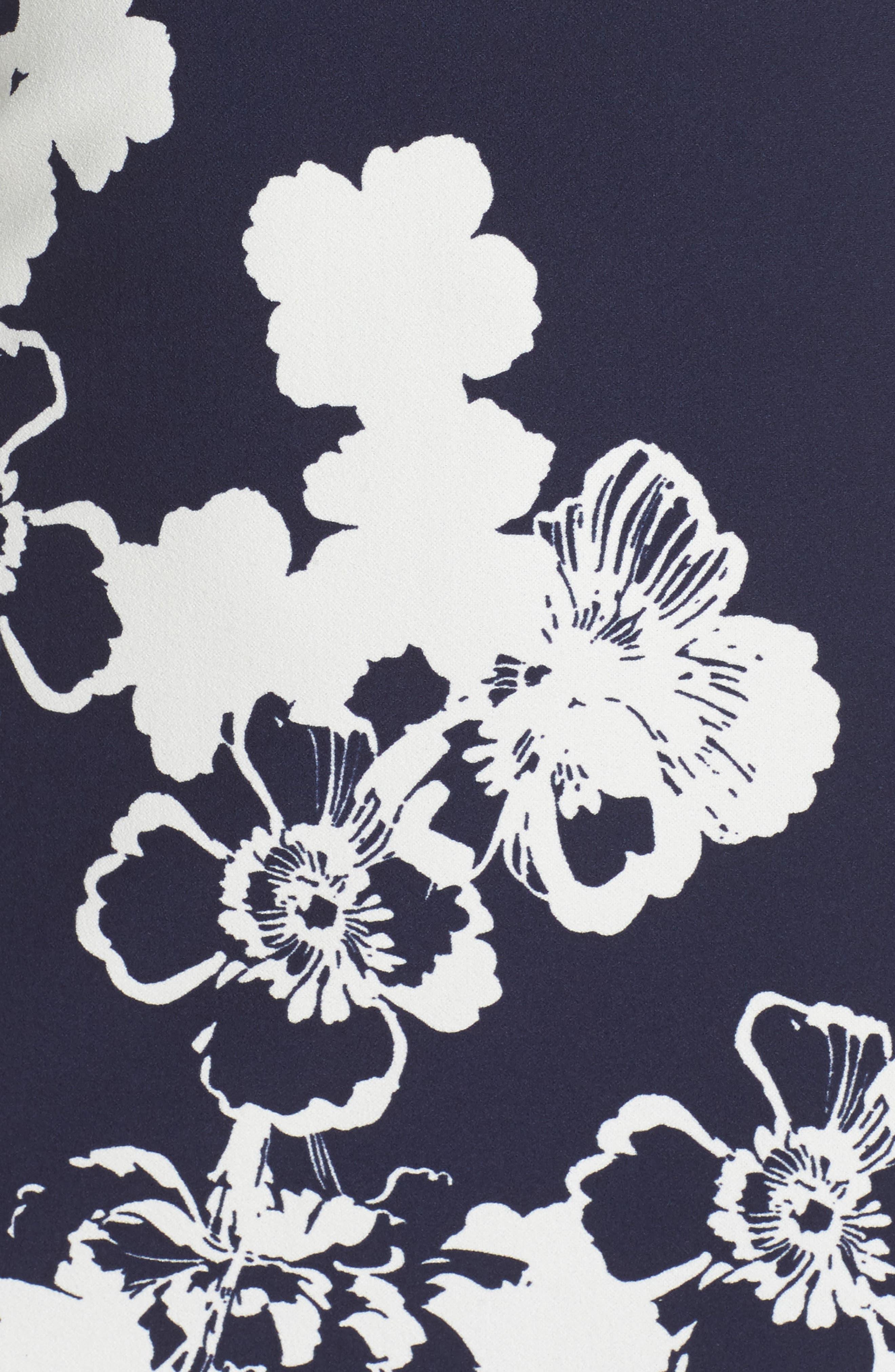 Cold Shoulder Shift Dress,                             Alternate thumbnail 5, color,                             Navy/ Ivory