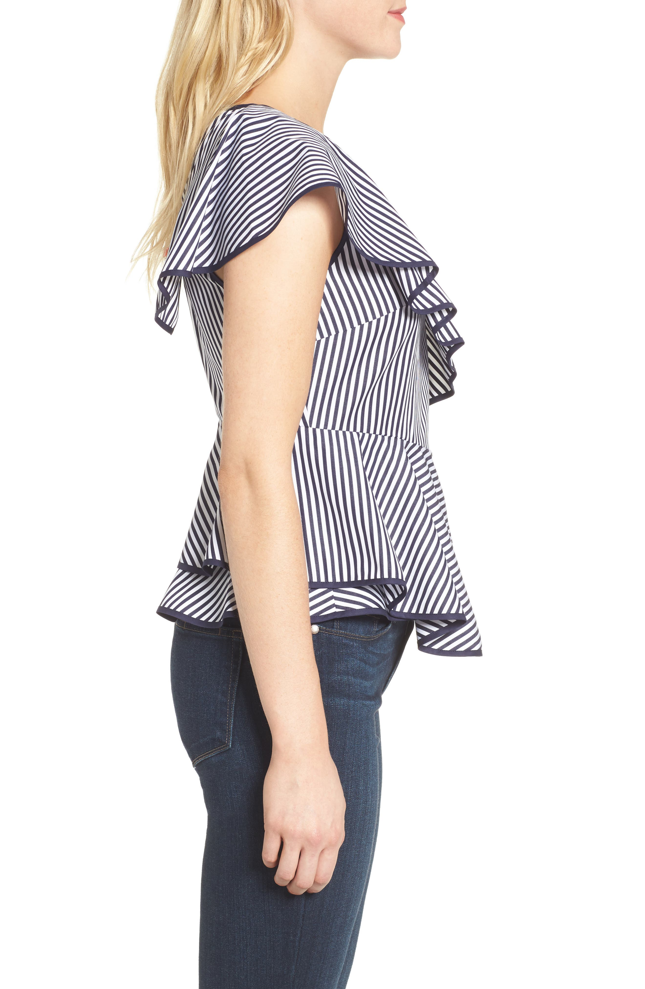 Carly Ruffle Top,                             Alternate thumbnail 3, color,                             Navy/ White