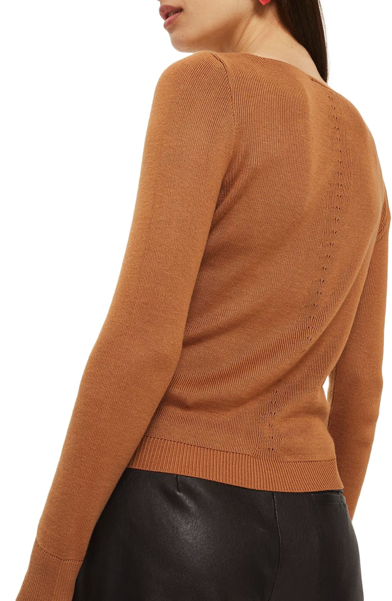 Sweetheart Neck Sweater,                             Alternate thumbnail 3, color,                             Brown