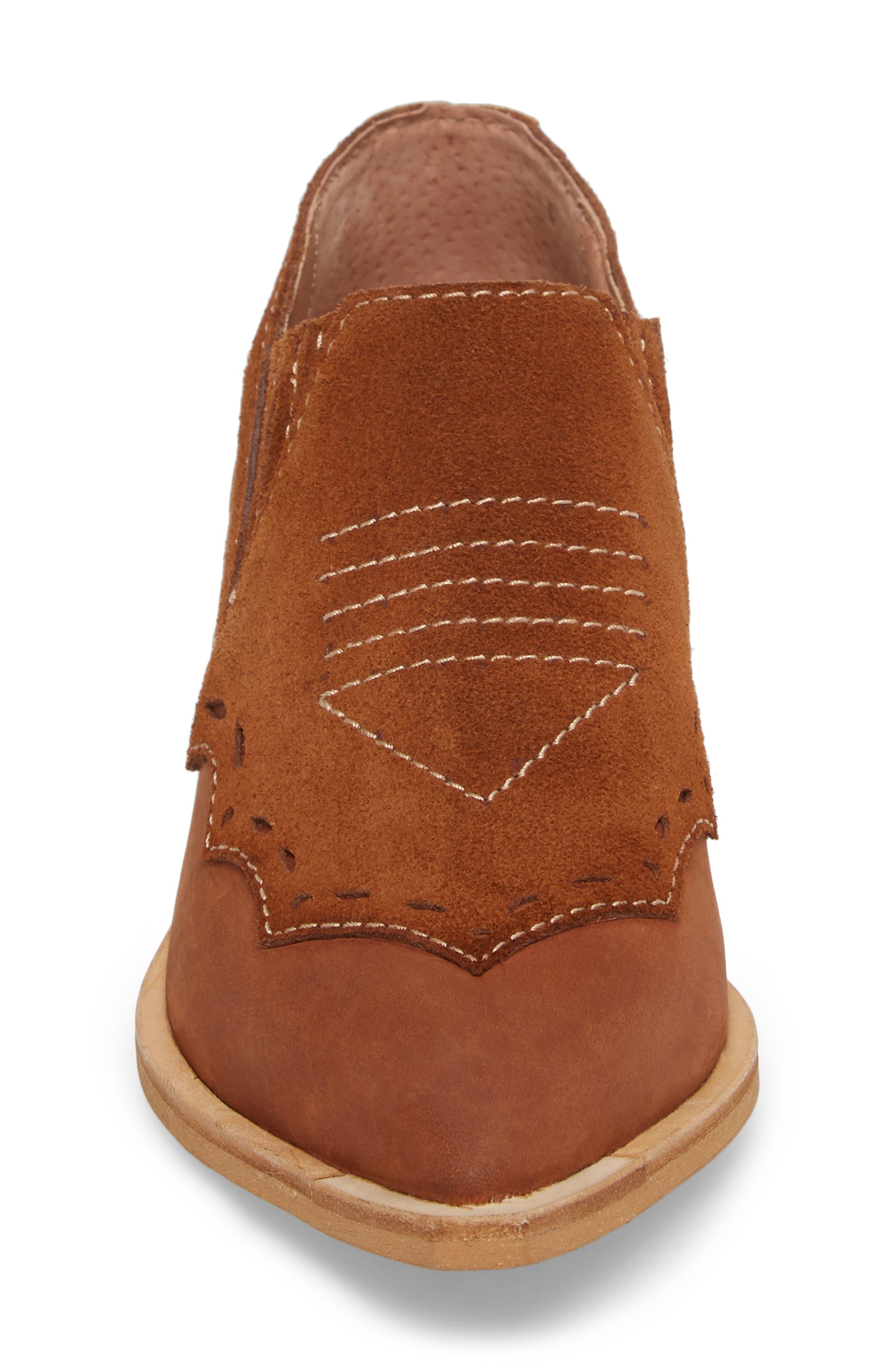 Warner Western Bootie,                             Alternate thumbnail 4, color,                             Brown/ Deep Maroon Leather