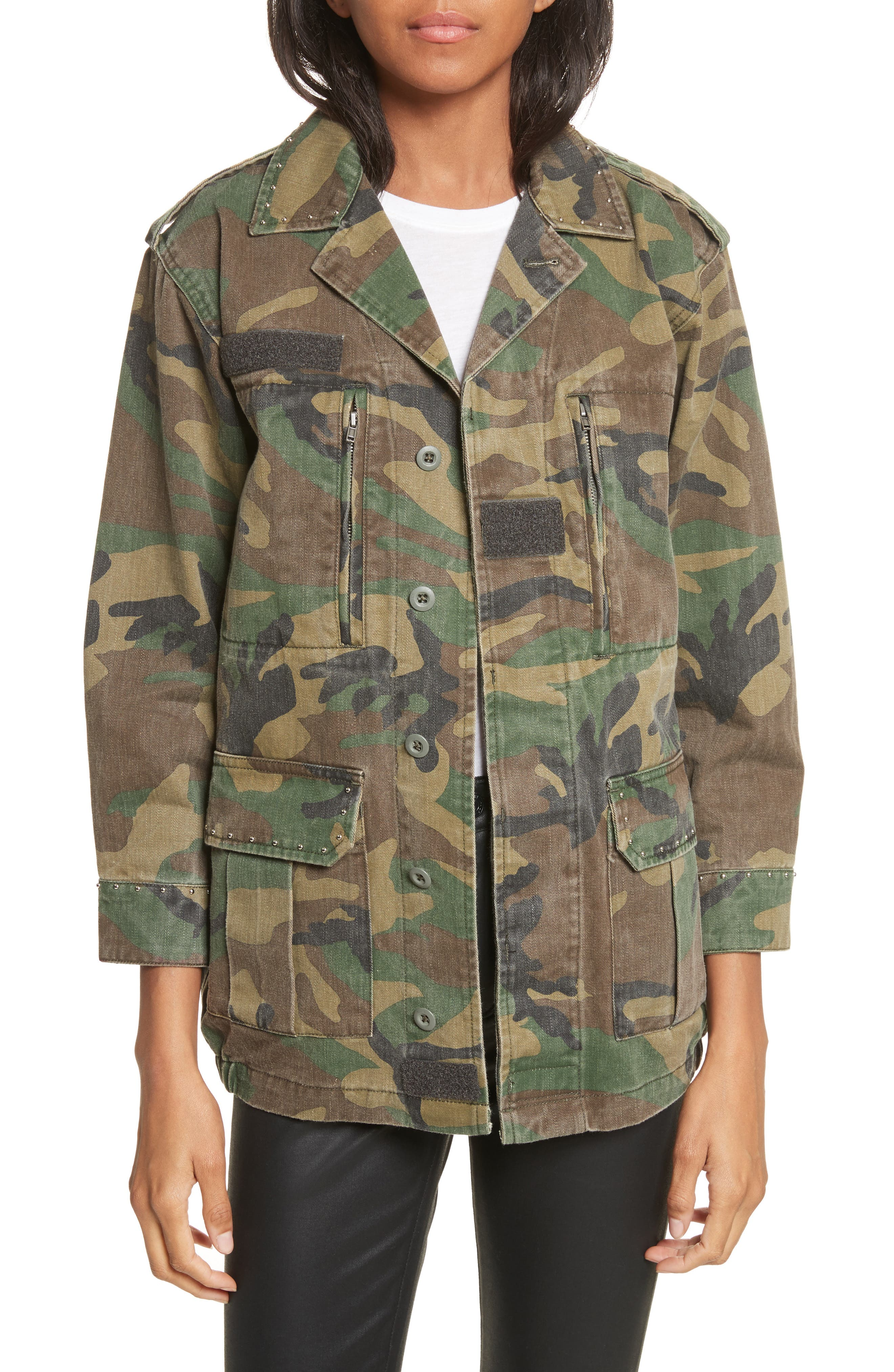 Studded Camouflage Jacket,                             Main thumbnail 1, color,                             Khaki