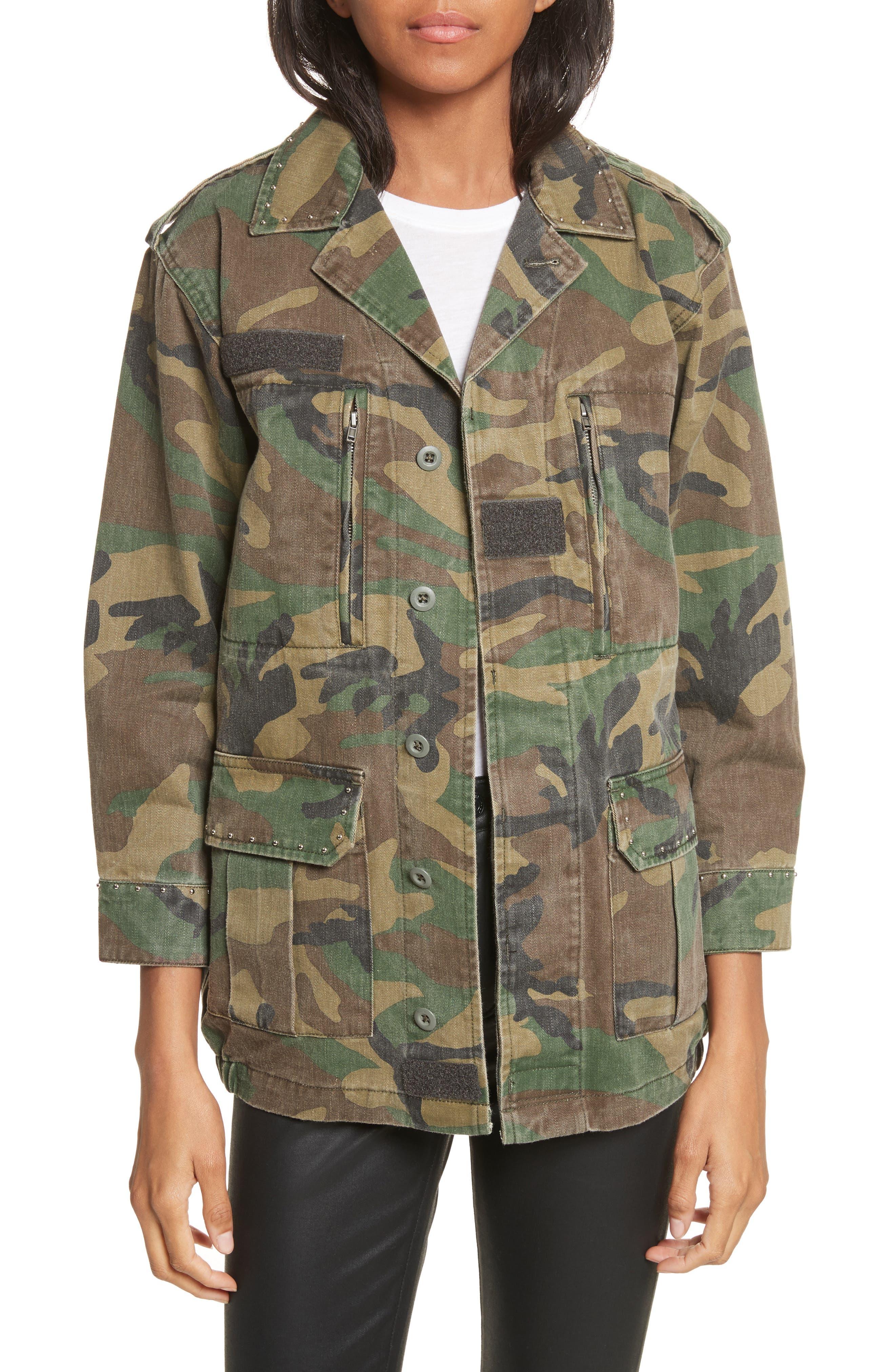 Studded Camouflage Jacket,                         Main,                         color, Khaki