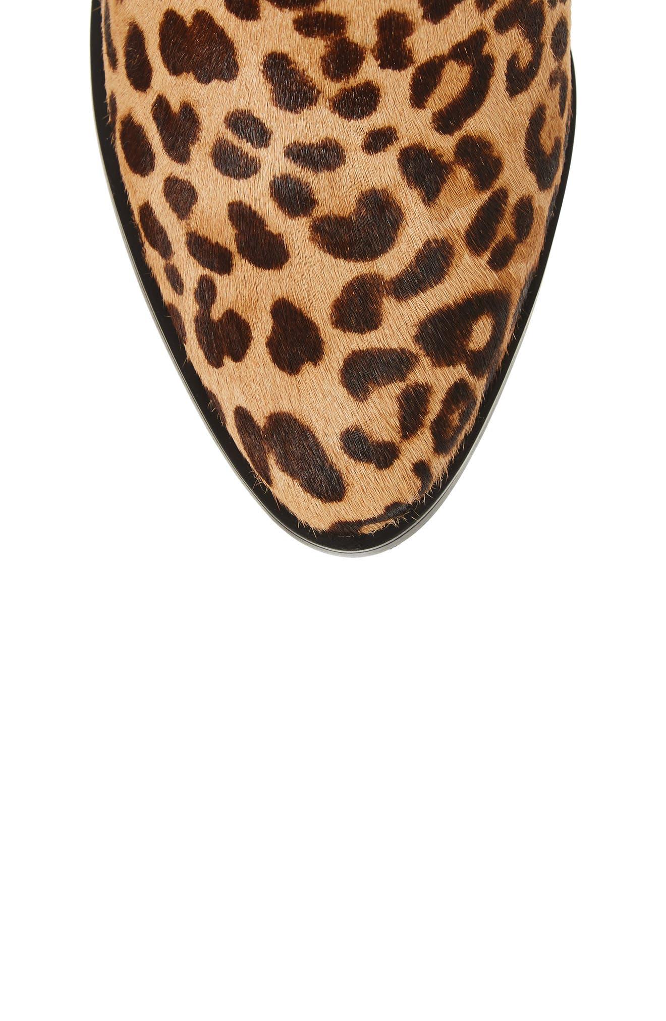 Rewind-L Genuine Calf Hair Bootie,                             Alternate thumbnail 5, color,                             Leopard