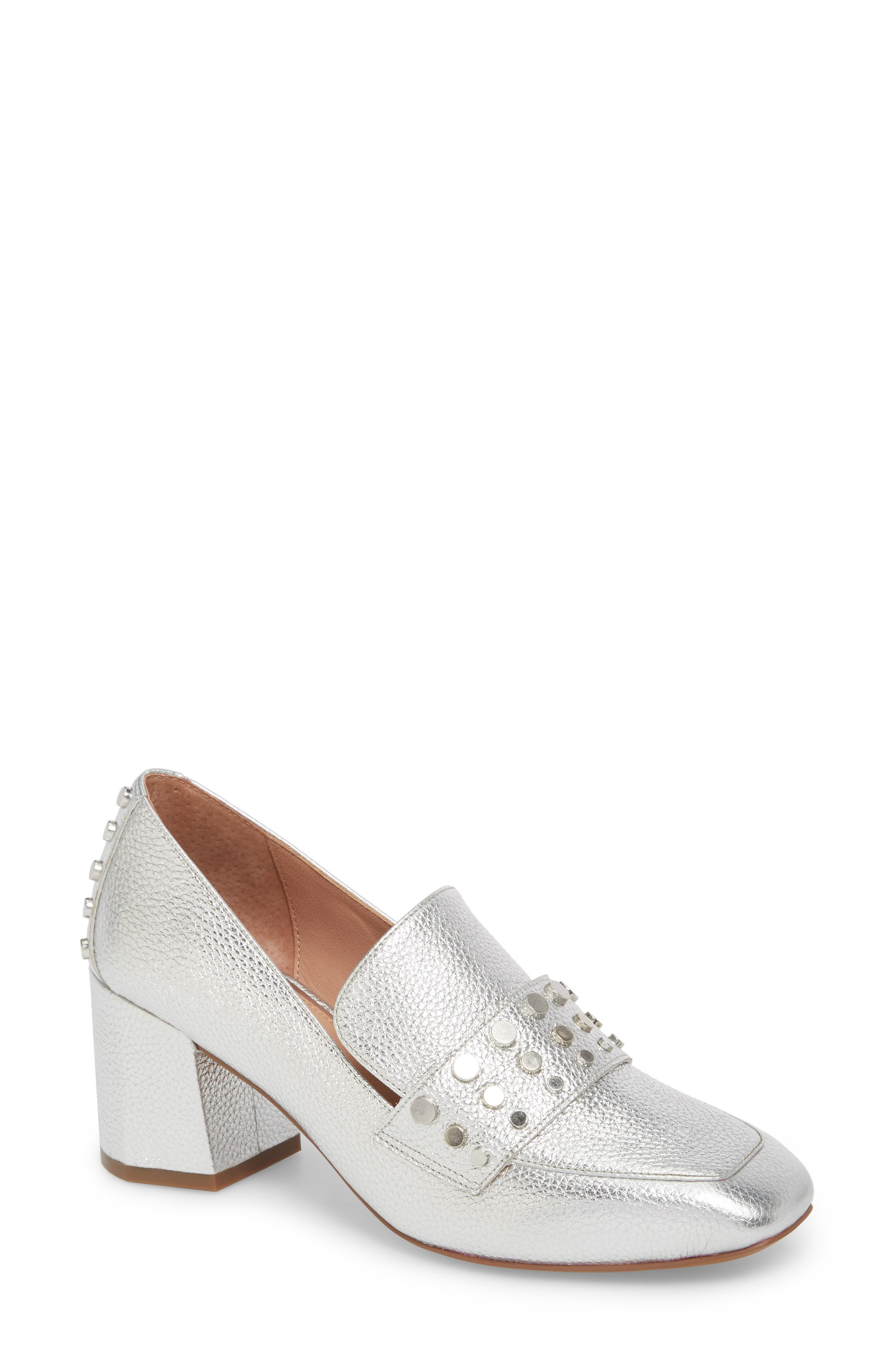 Luca Studded Pump,                         Main,                         color, Silver Leather