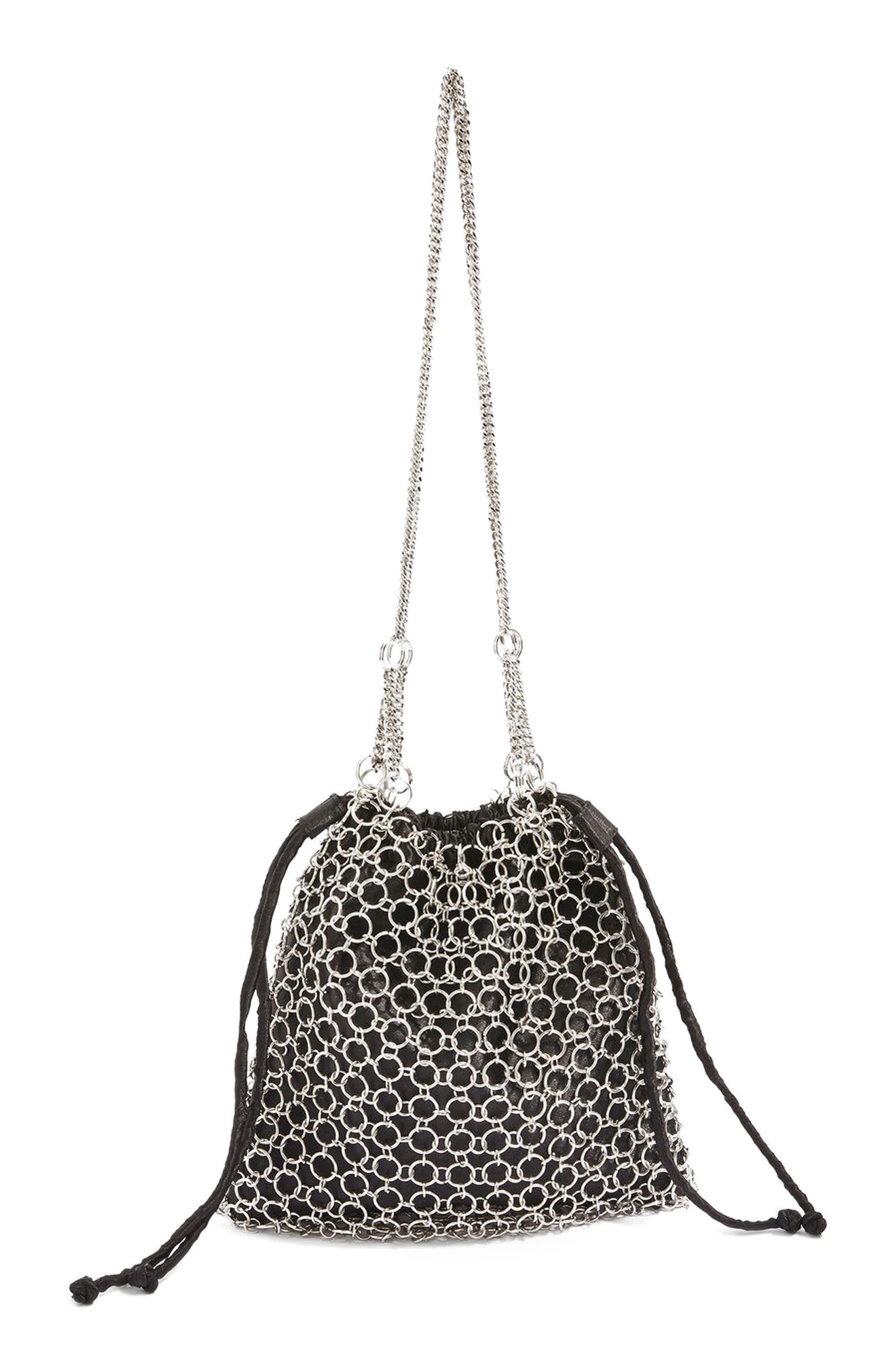 Topshop Cage Drawstring Shoulder Bag