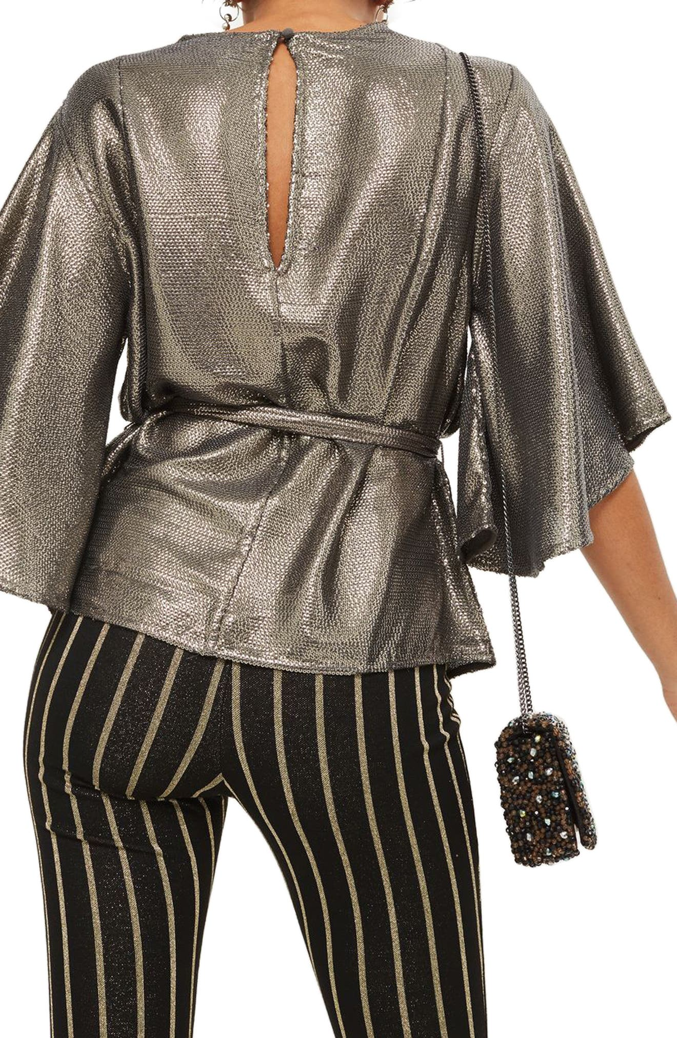 Angel Sleeve Sequin Blouse,                             Alternate thumbnail 2, color,                             Silver