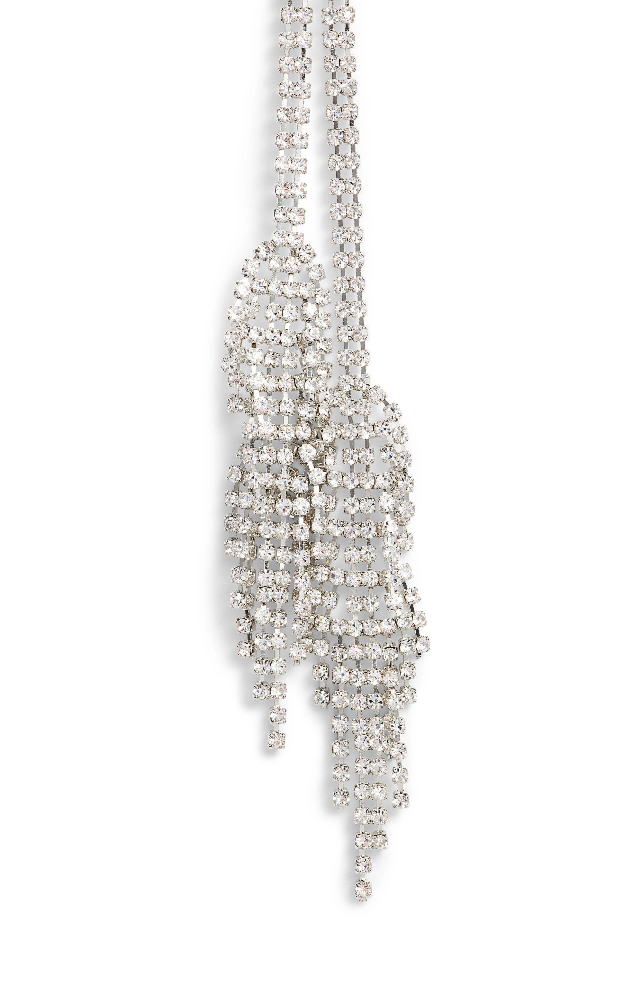 Double Fringe Crystal Y-Necklace,                             Alternate thumbnail 2, color,                             Silver